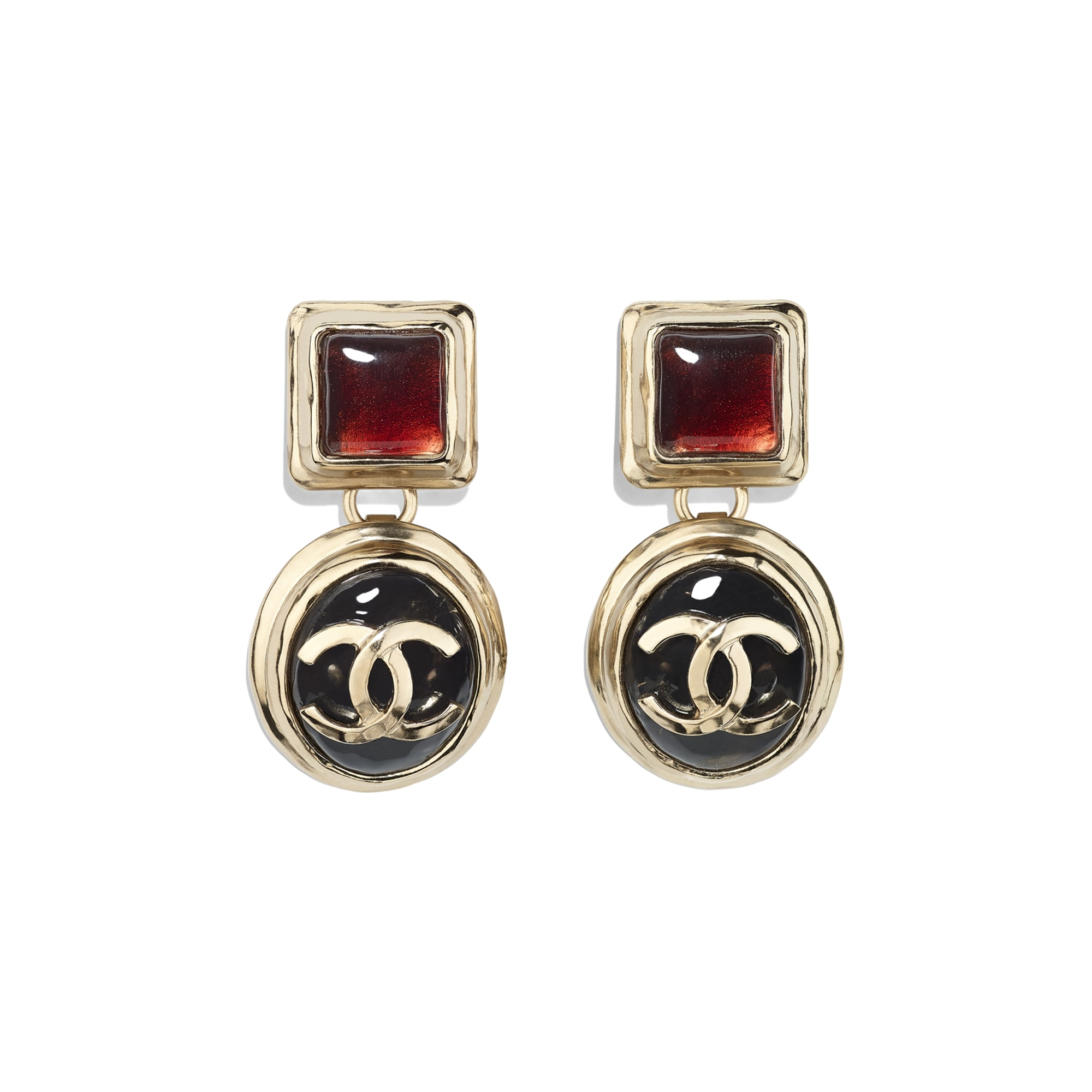 Clip-On Earrings - Gold, Black & Burgundy - Metal & Resin - Default view - see standard sized version