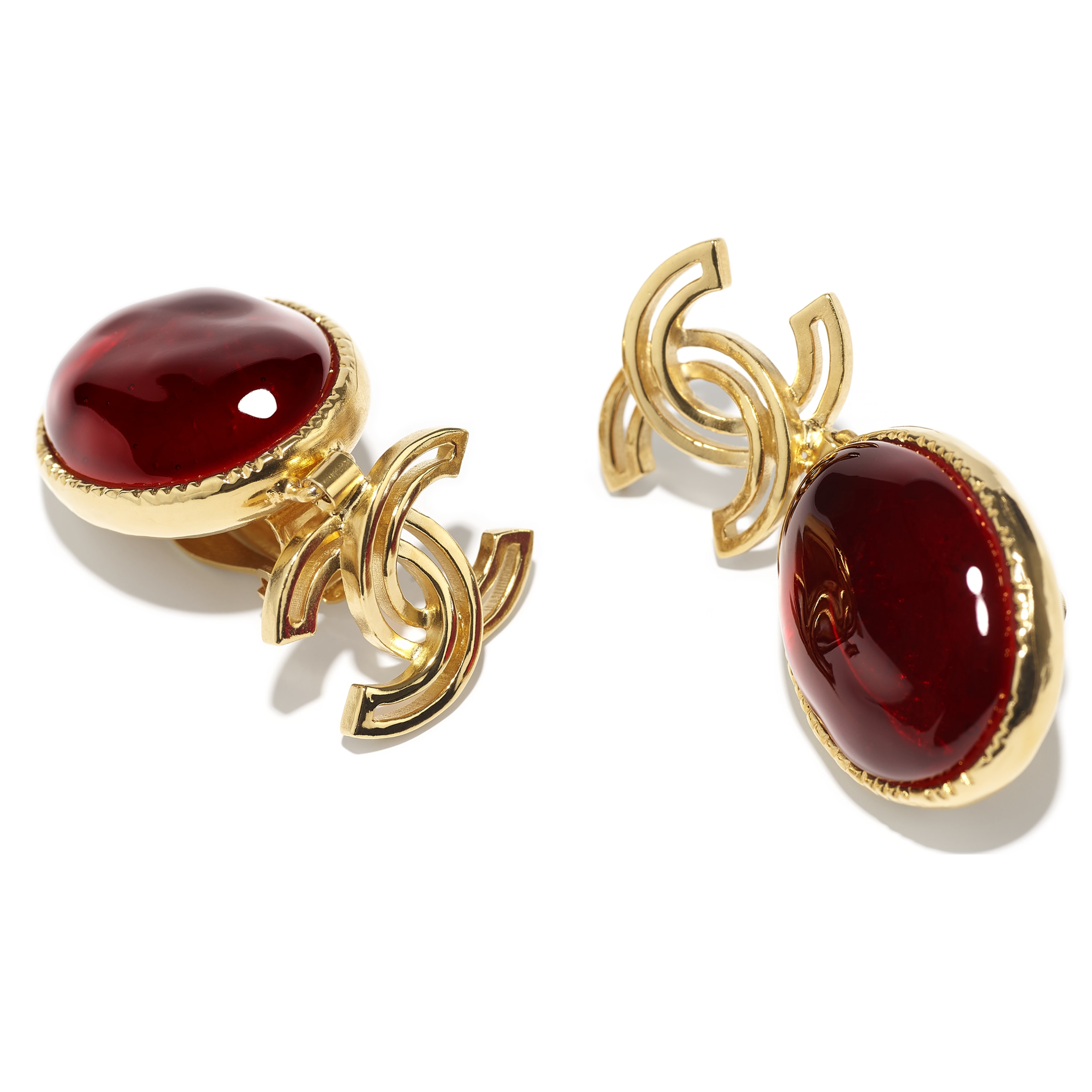 Clip-On Earrings - Gold & Burgundy - Metal & Resin - CHANEL - Alternative view - see standard sized version