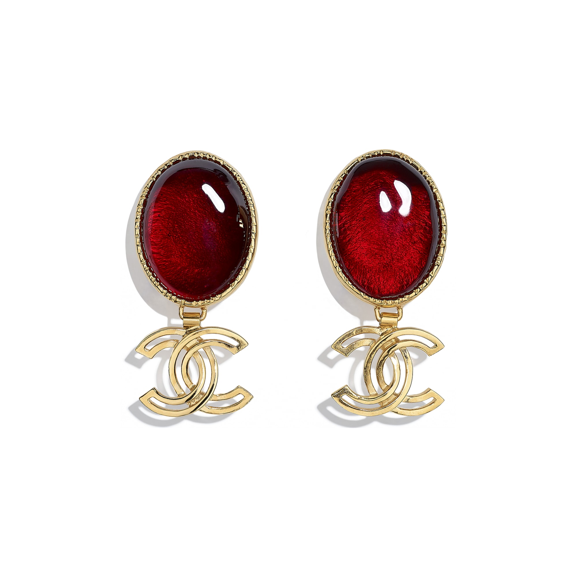 Clip-On Earrings - Gold & Burgundy - Metal & Resin - CHANEL - Default view - see standard sized version