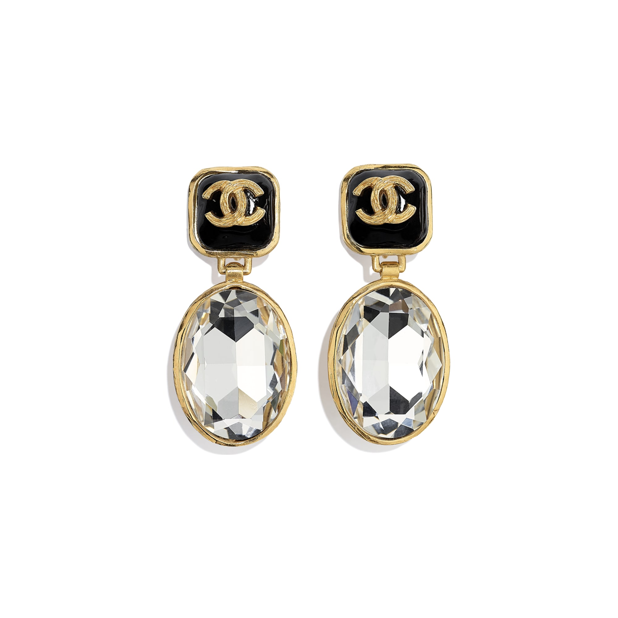 Clip-On Earrings - Gold, Crystal & Black - Metal, Diamantés & Resin - CHANEL - Default view - see standard sized version
