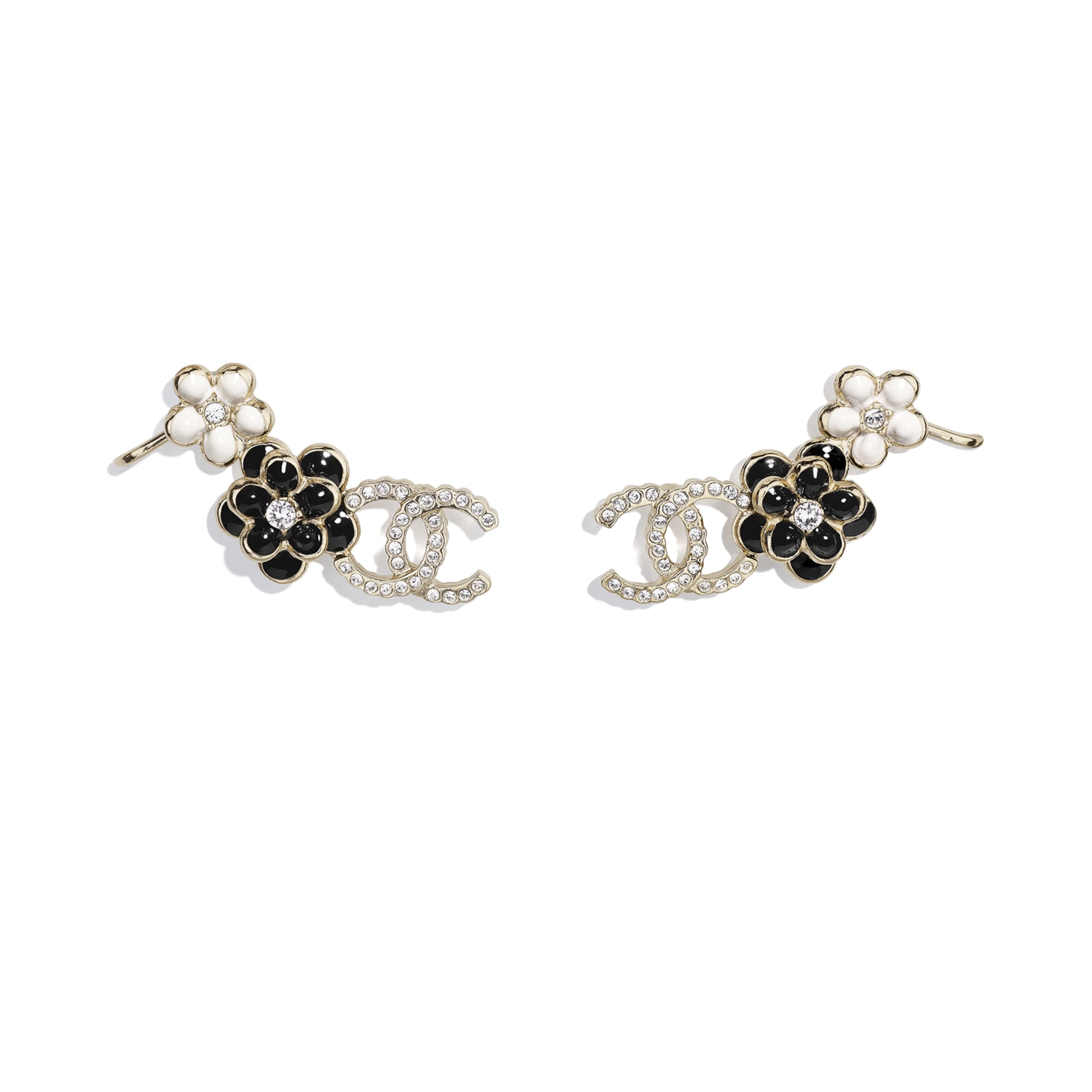 Clip-on Earrings - Gold, Crystal, Black & White - Metal, Strass & Resin - CHANEL - Default view - see standard sized version