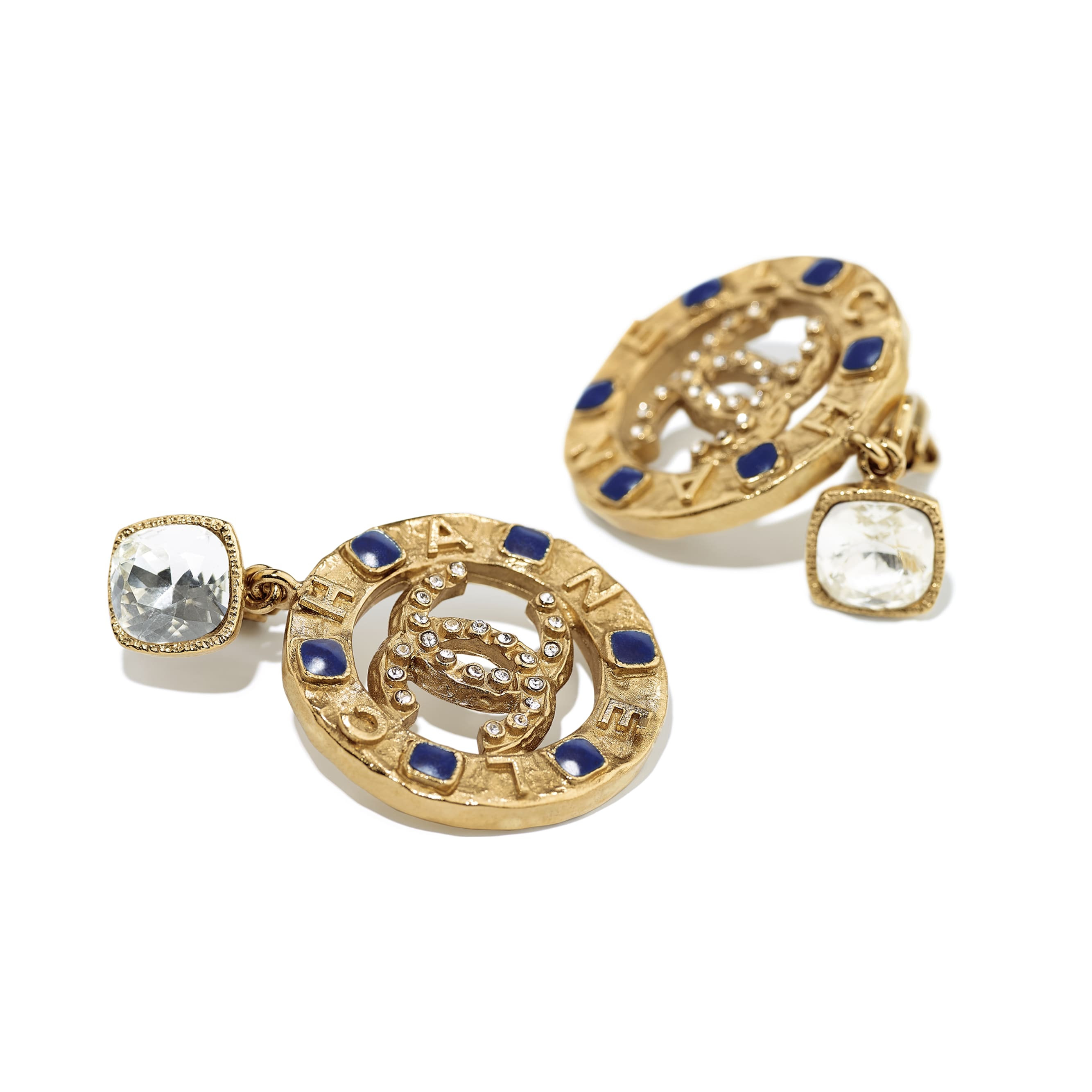 Clip-on Earrings - Gold, Crystal & Blue - Metal, Strass & Resin - CHANEL - Alternative view - see standard sized version