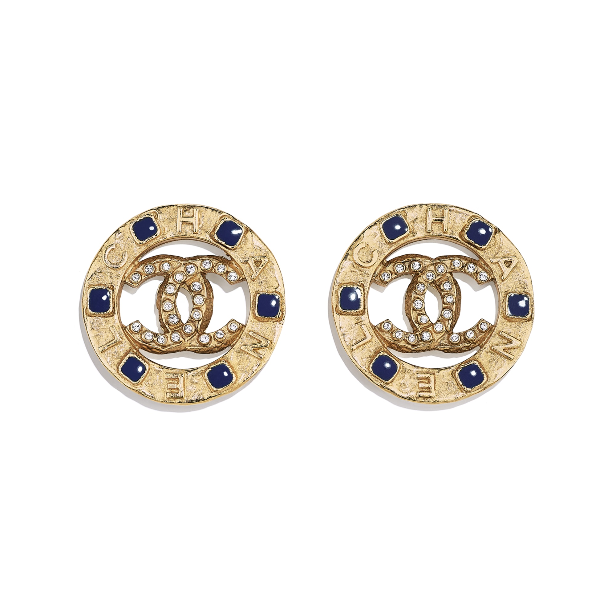 Clip-On Earrings - Gold, Crystal & Blue - Metal, Diamantés & Resin - CHANEL - Default view - see standard sized version
