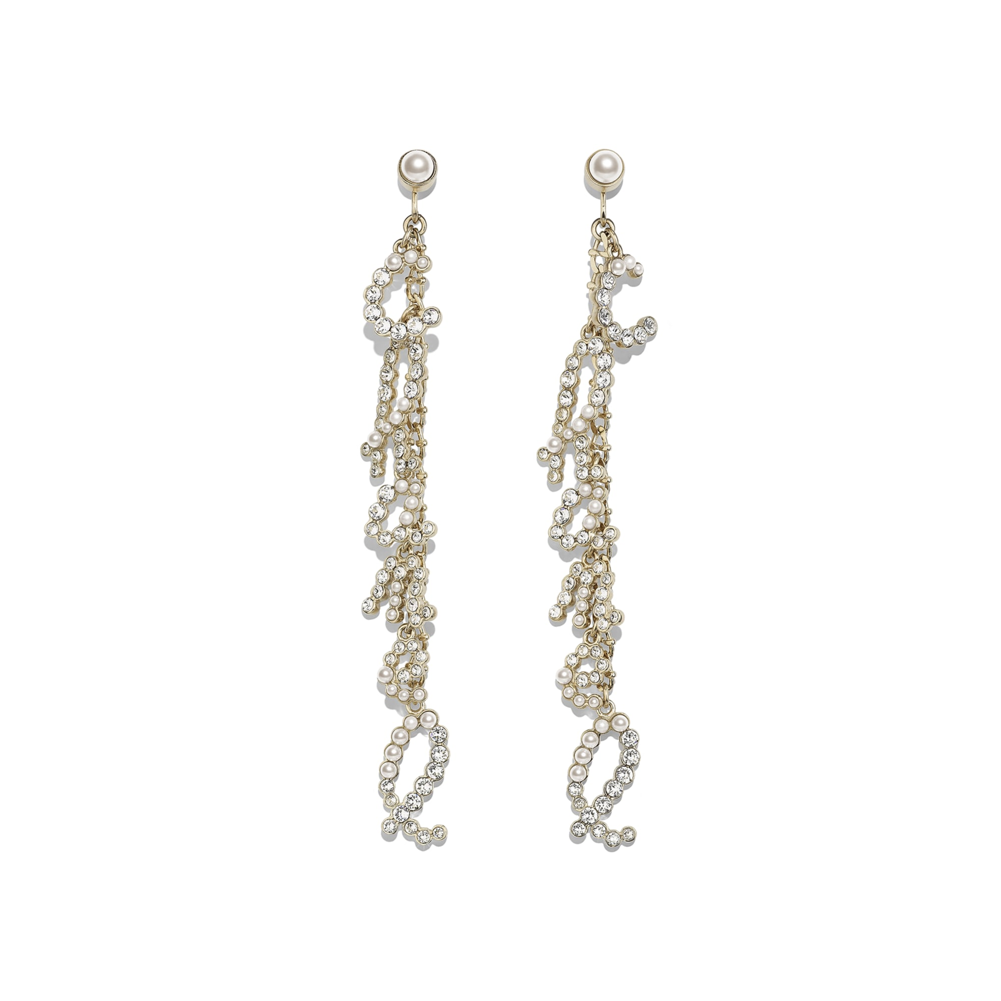 Clip-On Earrings - Gold & Crystal - Metal, Glass Pearls & Diamantés - Default view - see standard sized version