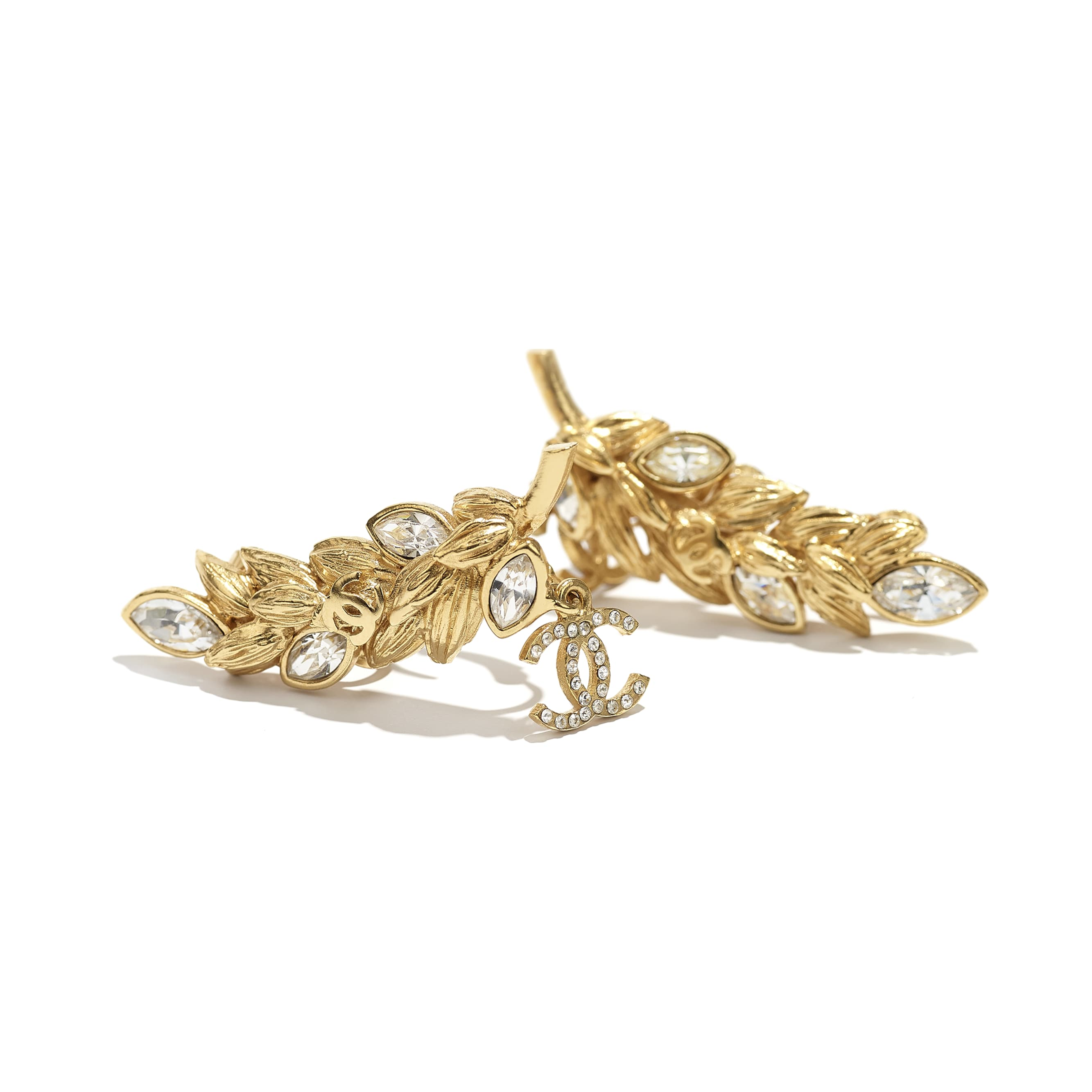 Clip-On Earrings - Gold & Crystal - Metal & Diamantés - CHANEL - Alternative view - see standard sized version