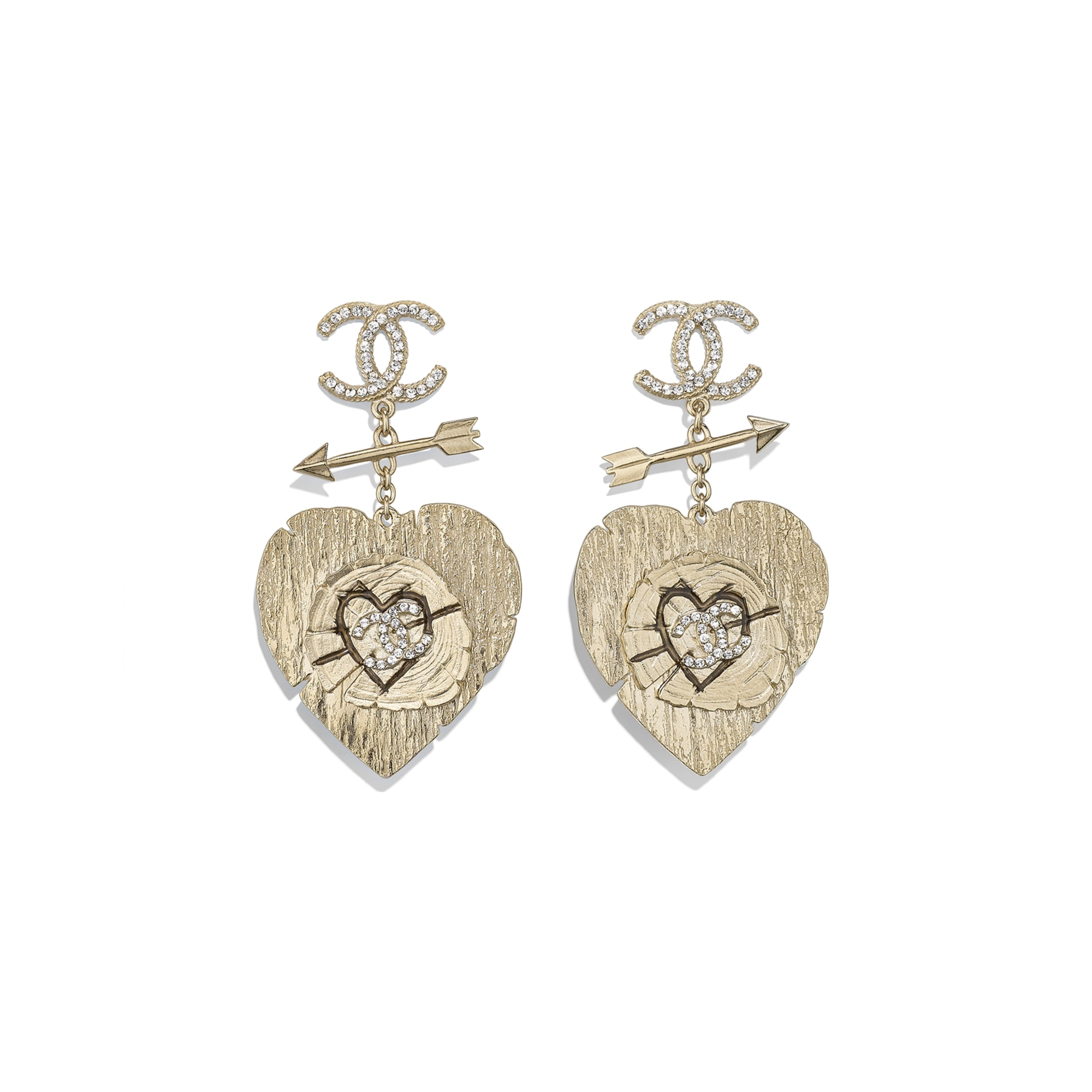 Clip-On Earrings - Gold & Crystal - Metal & Diamantés - Default view - see standard sized version