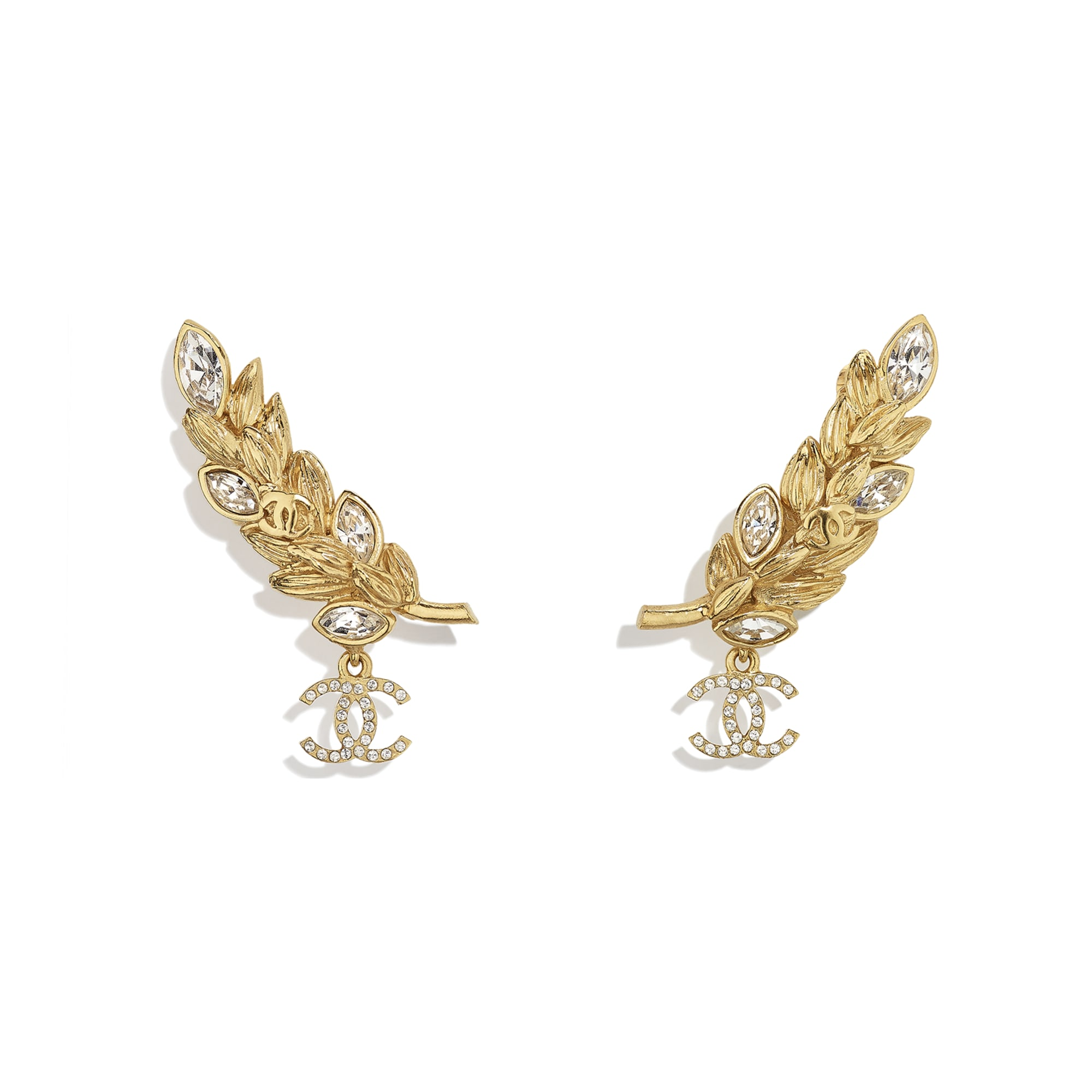Clip-On Earrings - Gold & Crystal - Metal & Diamantés - CHANEL - Default view - see standard sized version