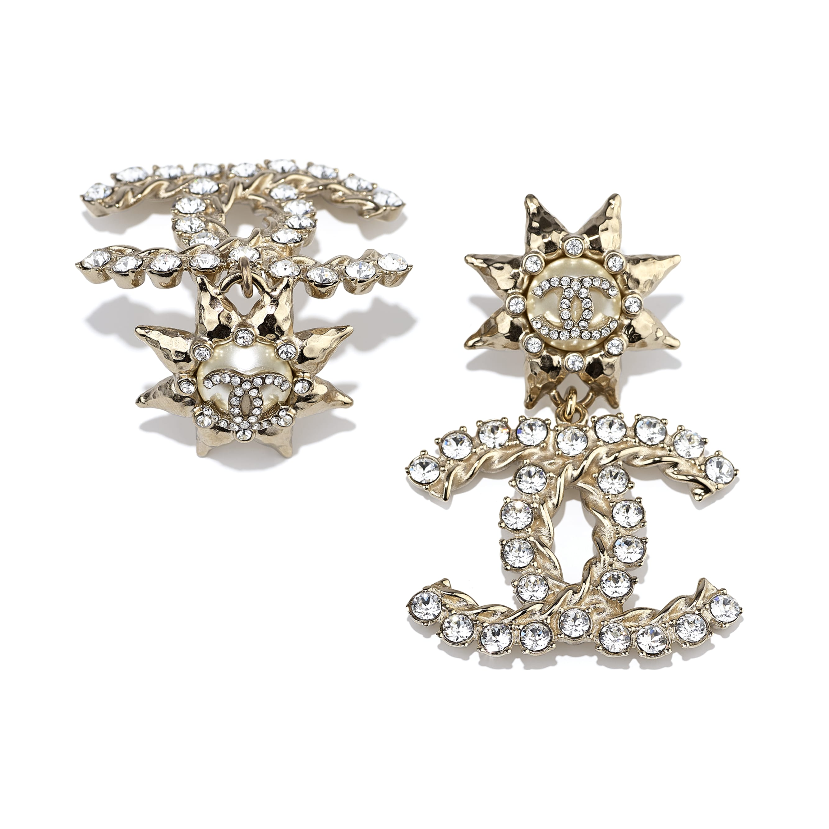Clip-On Earrings - Gold, Crystal & Pearly White - Metal, Diamantés & Resin - CHANEL - Alternative view - see standard sized version