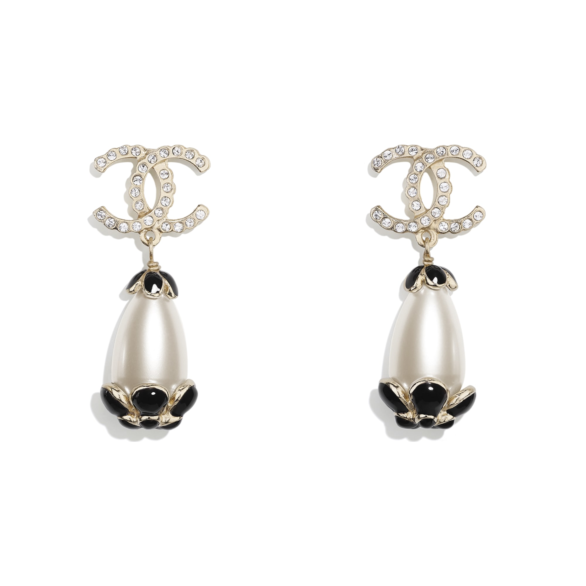 Clip-on Earrings - Gold, Pearly White, Crystal & Black - Metal, Strass & Resin - CHANEL - Default view - see standard sized version