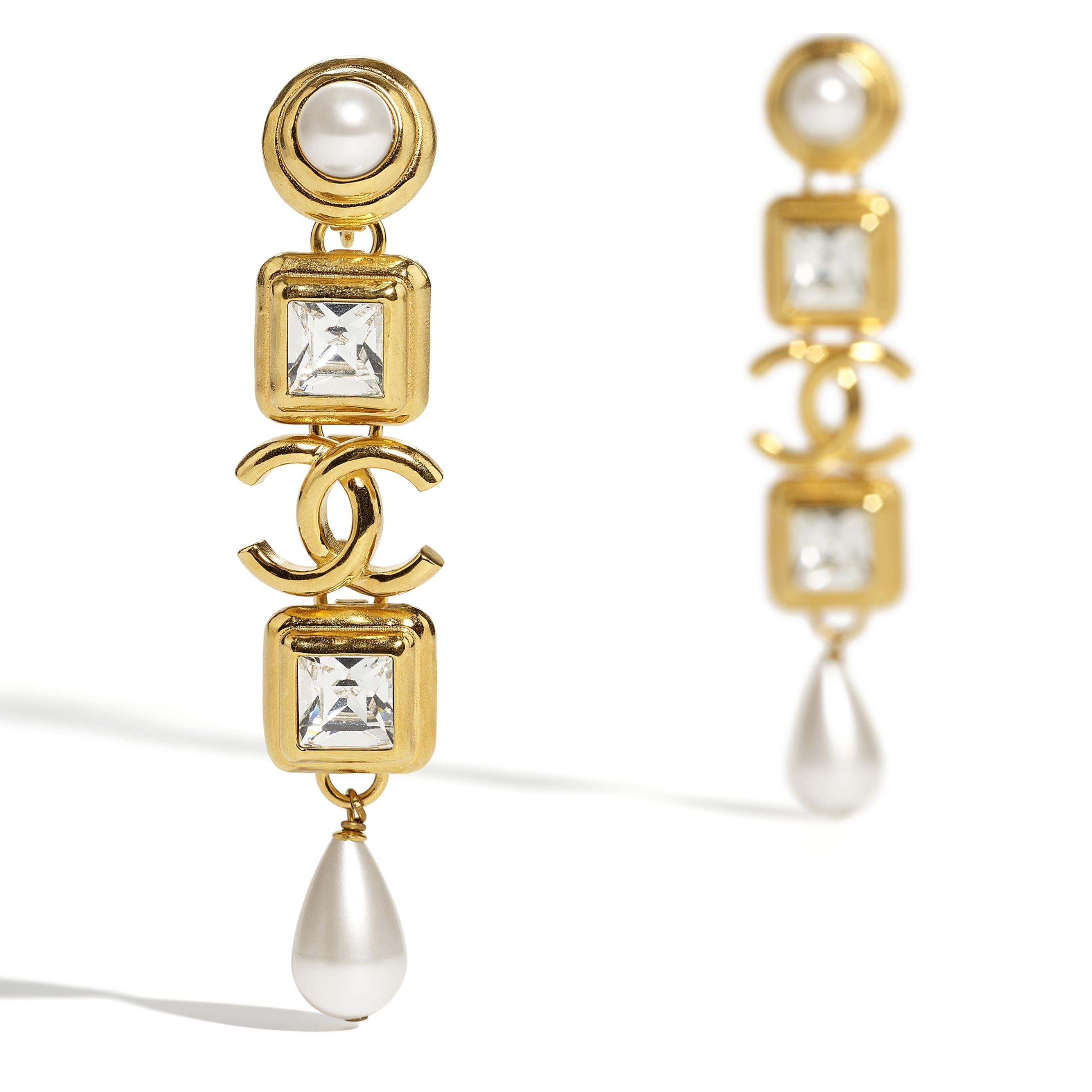 Clip-On Earrings - Gold, Pearly White & Crystal - Metal, Glass Pearls, Imitation Pearls & Diamanté - CHANEL - Alternative view - see standard sized version