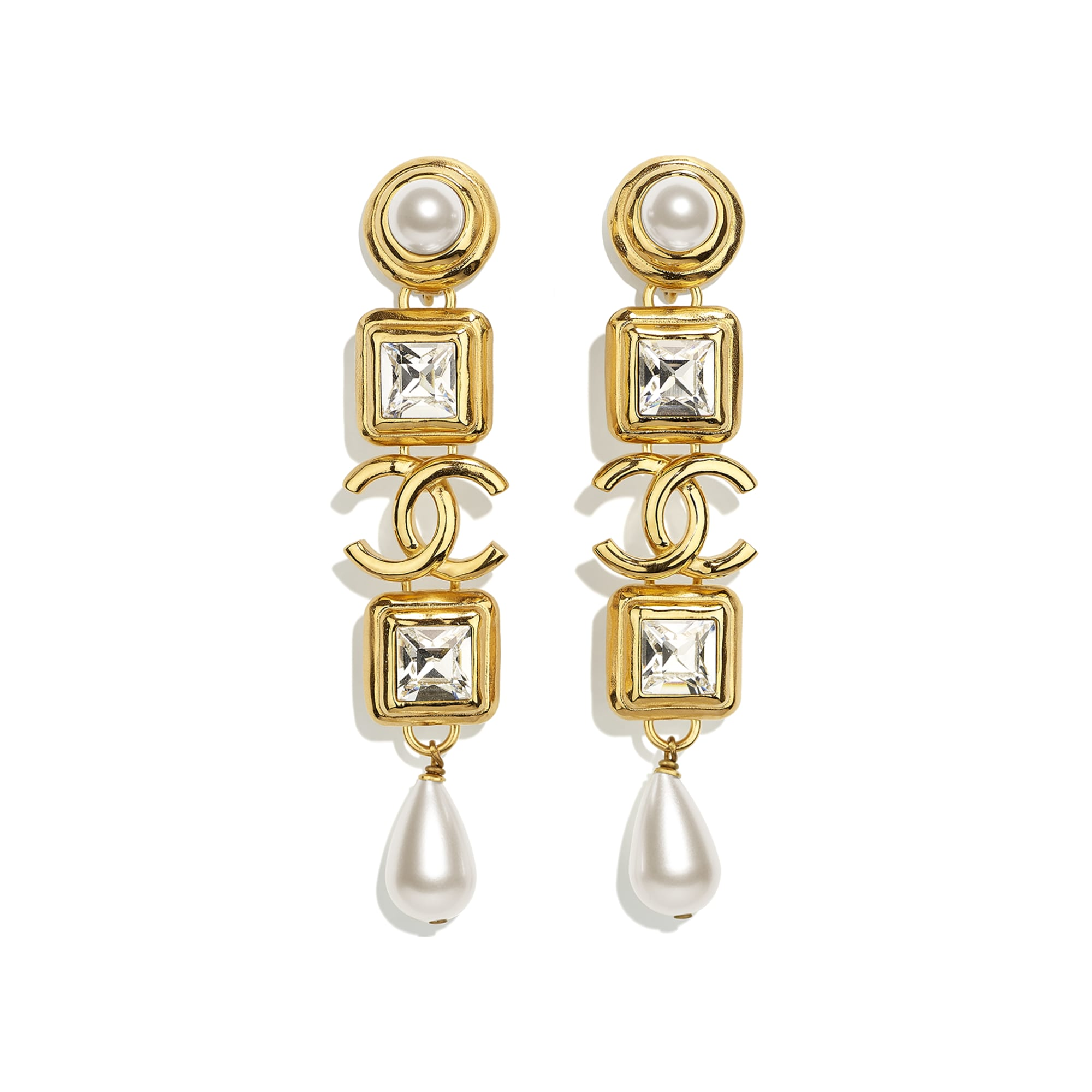 Clip-On Earrings - Gold, Pearly White & Crystal - Metal, Glass Pearls, Imitation Pearls & Diamanté - CHANEL - Default view - see standard sized version