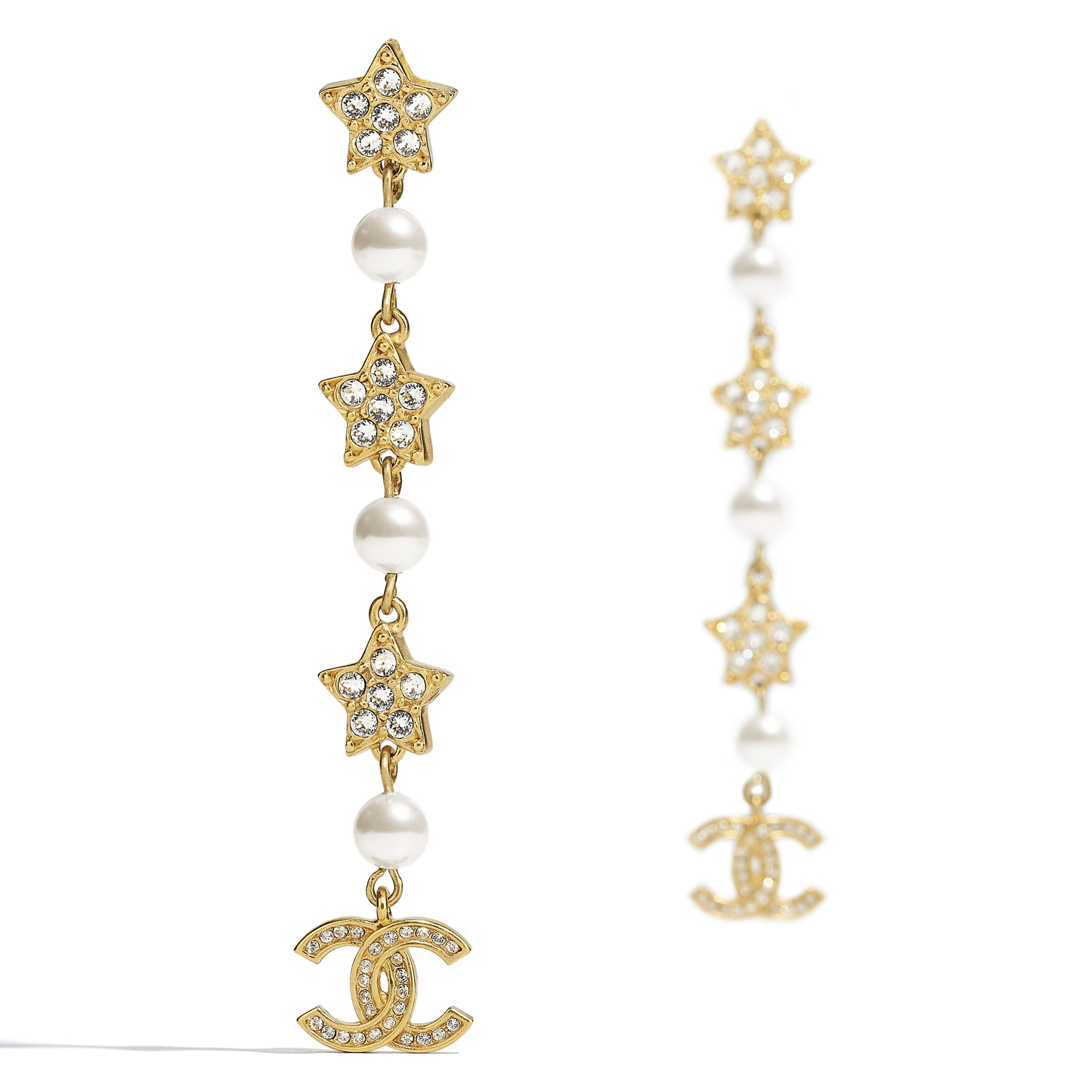 Clip-On Earrings - Gold, Pearly White & Crystal - Metal, Glass Pearls & Diamantés - CHANEL - Alternative view - see standard sized version