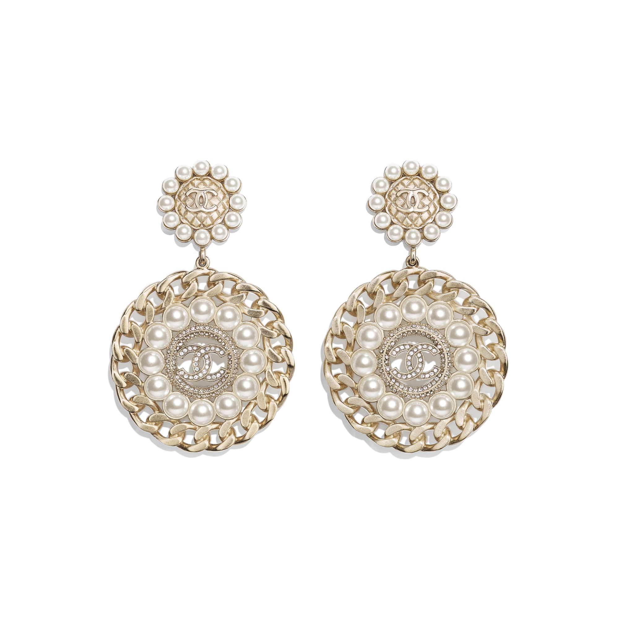 Clip-On Earrings - Gold, Pearly White & Crystal - Metal, Glass Pearls & Diamantés - CHANEL - Default view - see standard sized version