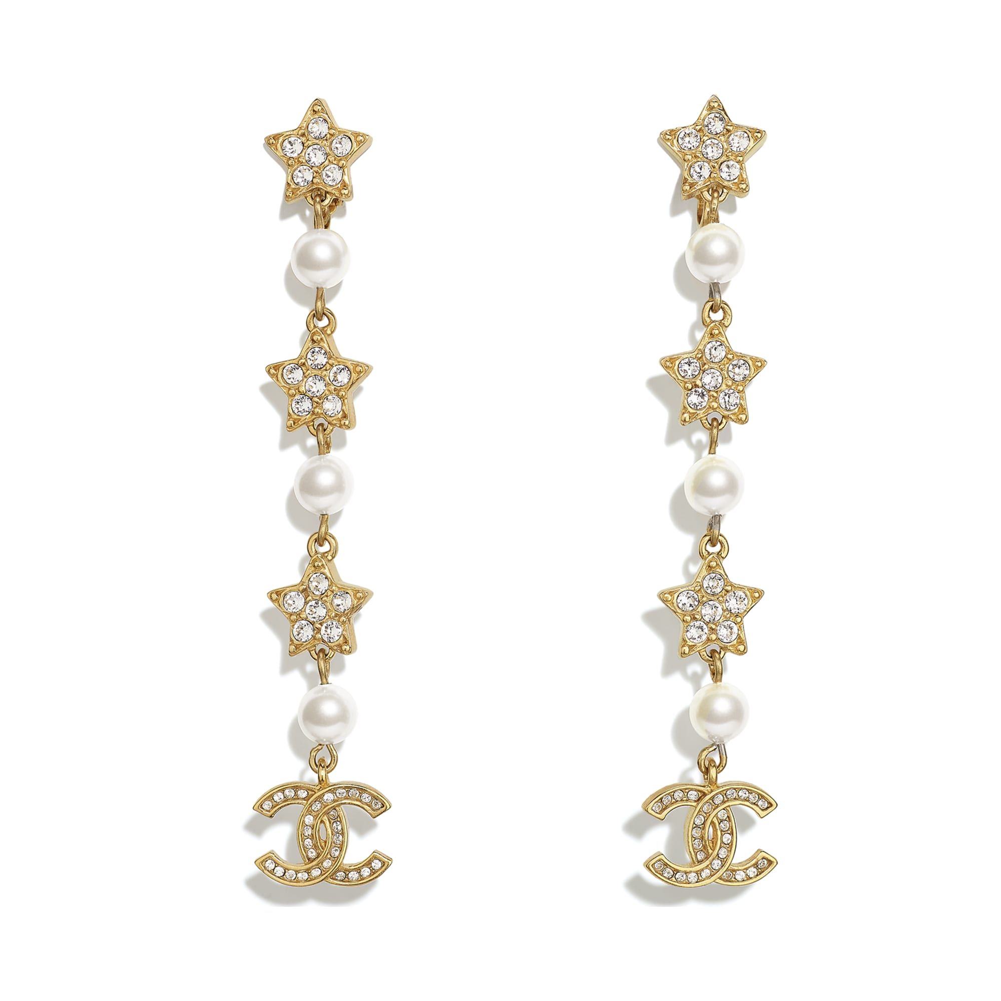 Clip-on Earrings - Gold, Pearly White & Crystal - Metal, Glass Pearls & Strass - CHANEL - Default view - see standard sized version