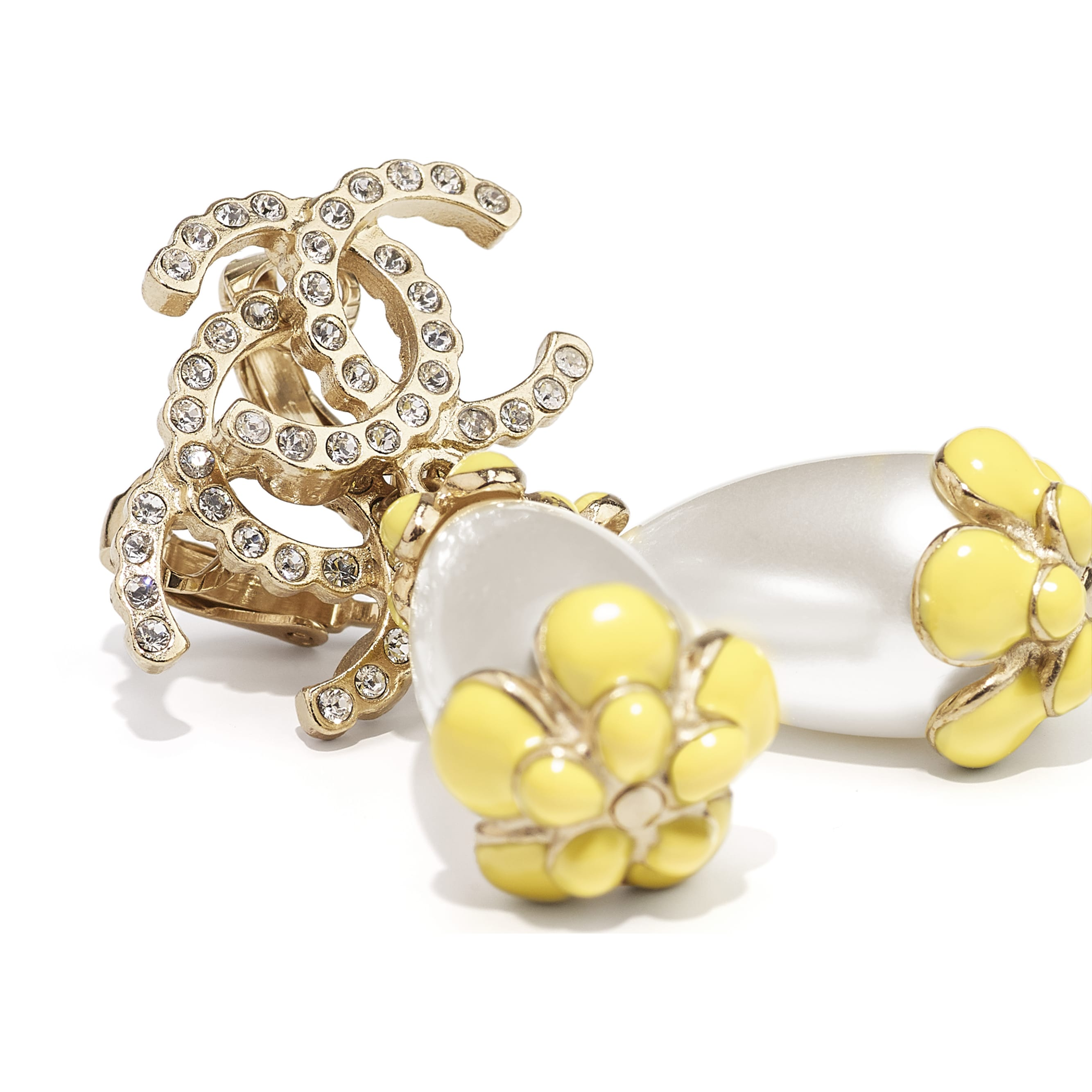 Clip-On Earrings - Gold, Pearly White, Crystal & Yellow - Metal, Diamantés & Resin - CHANEL - Alternative view - see standard sized version