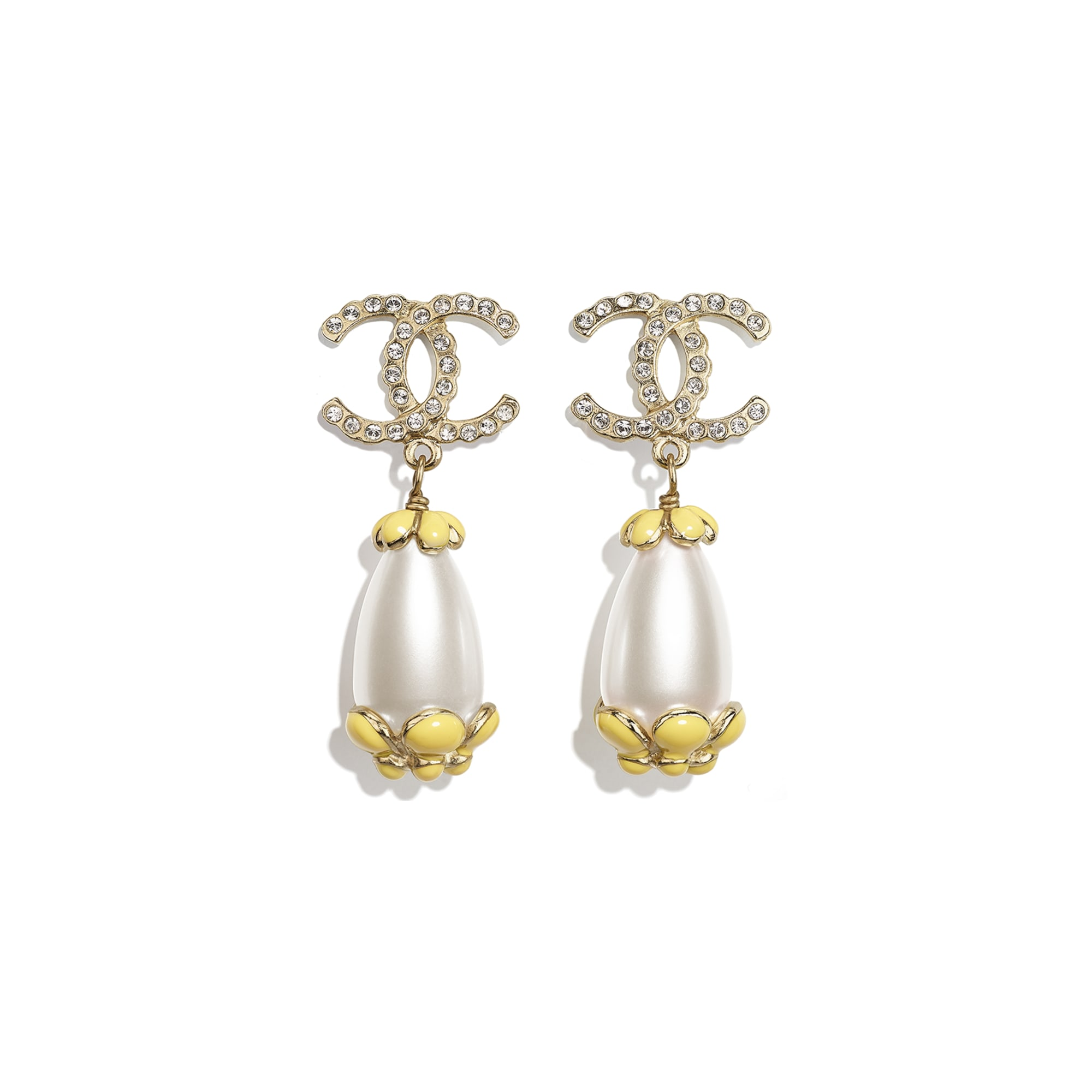 Clip-On Earrings - Gold, Pearly White, Crystal & Yellow - Metal, Diamantés & Resin - CHANEL - Default view - see standard sized version