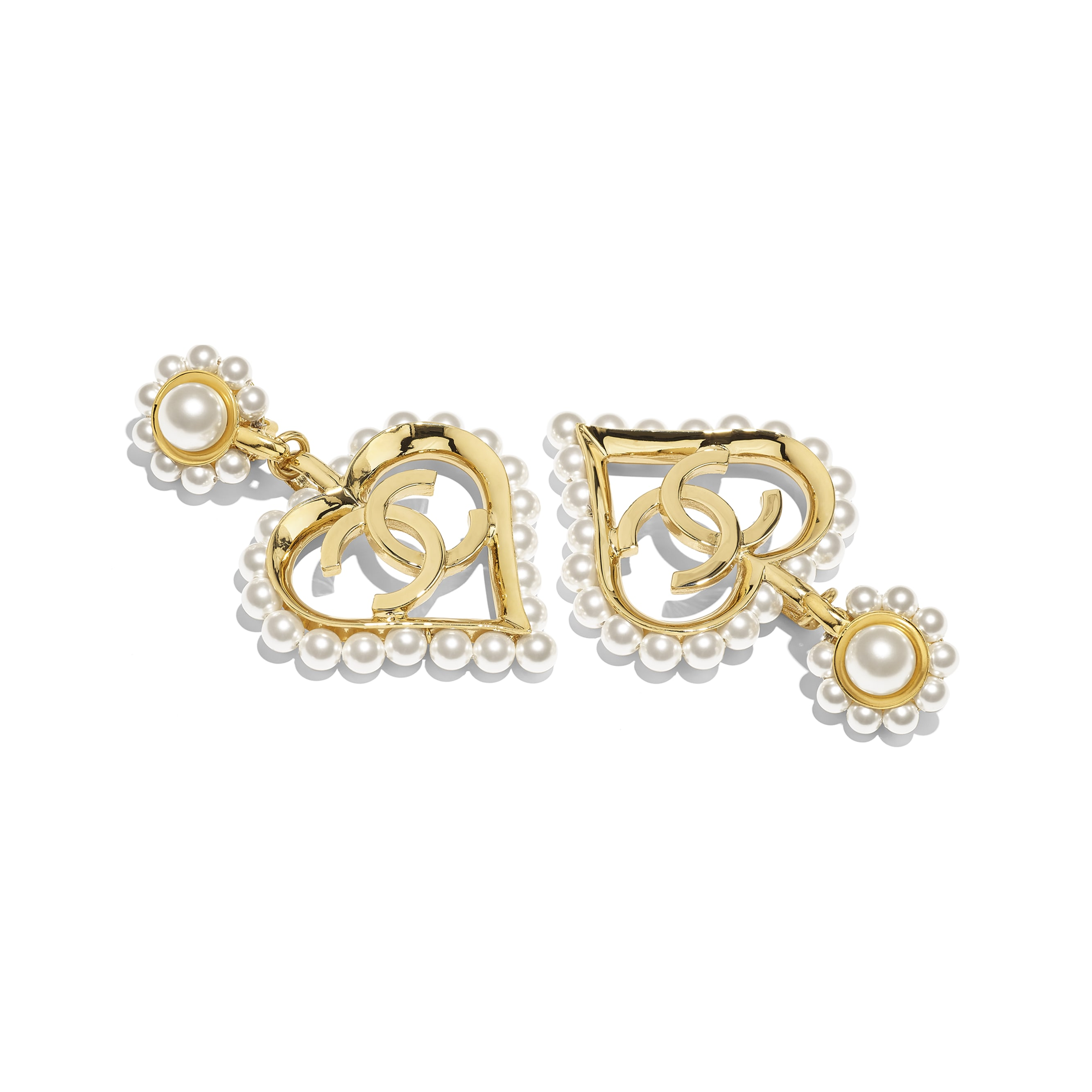 Clip-On Earrings - Gold & Pearly White - Metal & Glass Pearls - Alternative view - see standard sized version