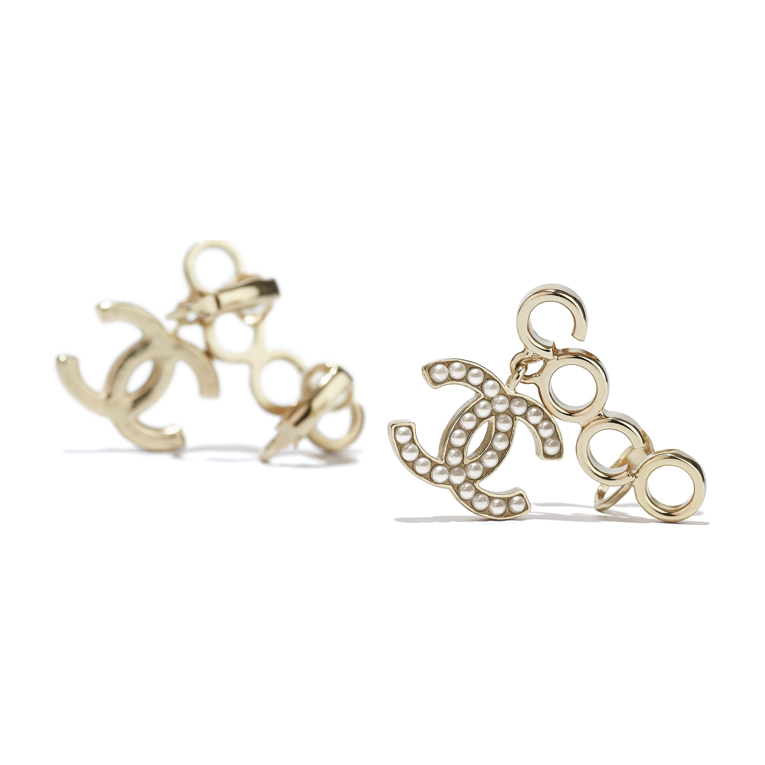 Clip-On Earrings - Gold & Pearly White - Metal & Glass Pearls - CHANEL - Alternative view - see standard sized version