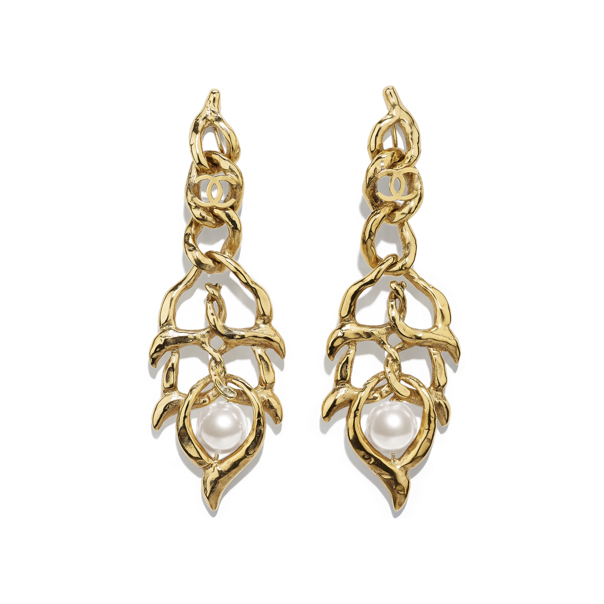 Clip-On Earrings - Gold & Pearly White - Metal & Glass Pearls - Default view - see standard sized version
