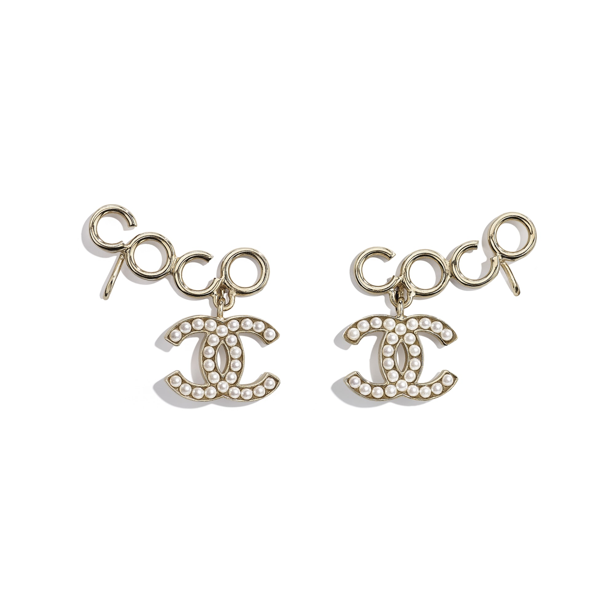 Clip-On Earrings - Gold & Pearly White - Metal & Glass Pearls - CHANEL - Default view - see standard sized version