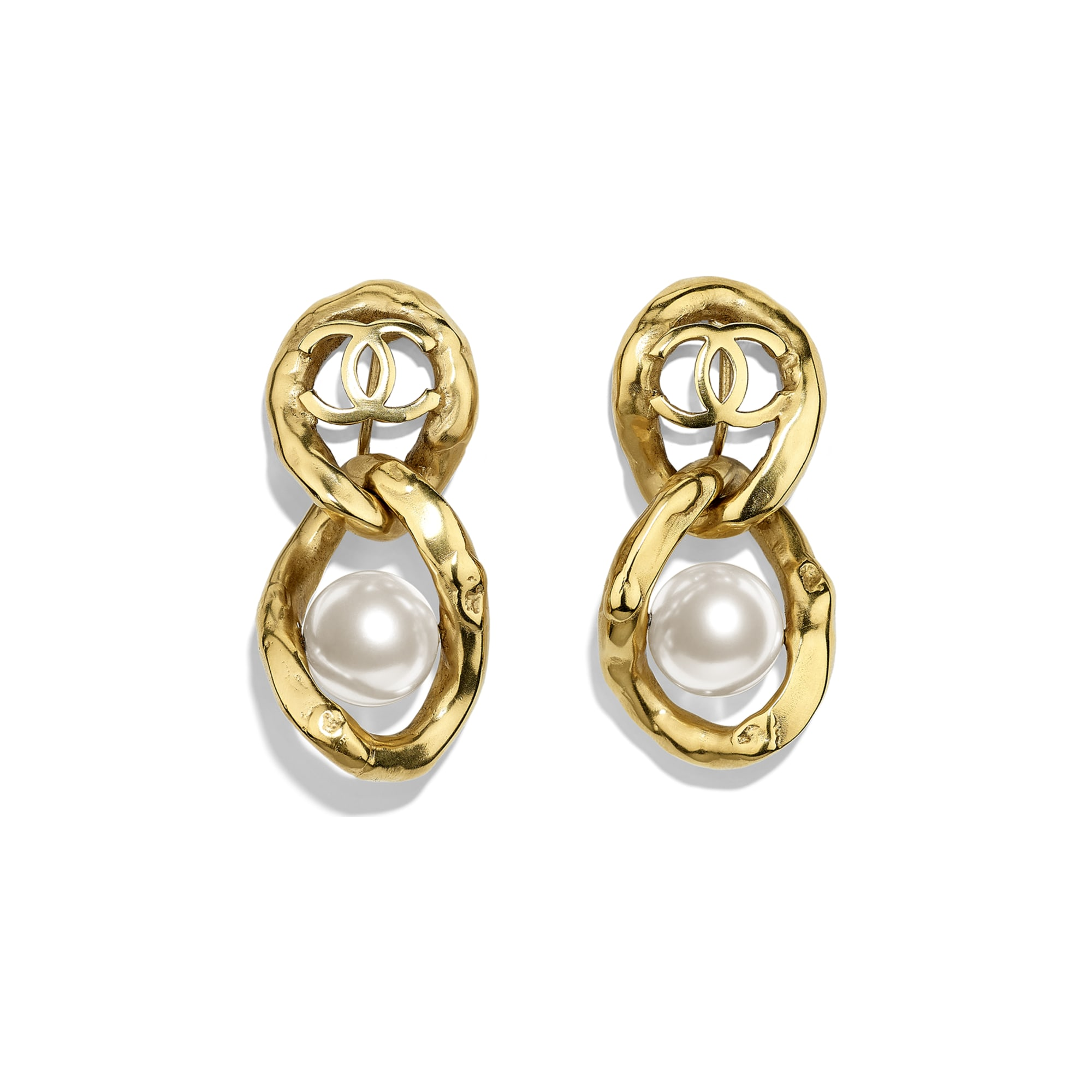Clip-on Earrings - Gold & Pearly White - Metal & Imitation Pearls - CHANEL - Default view - see standard sized version