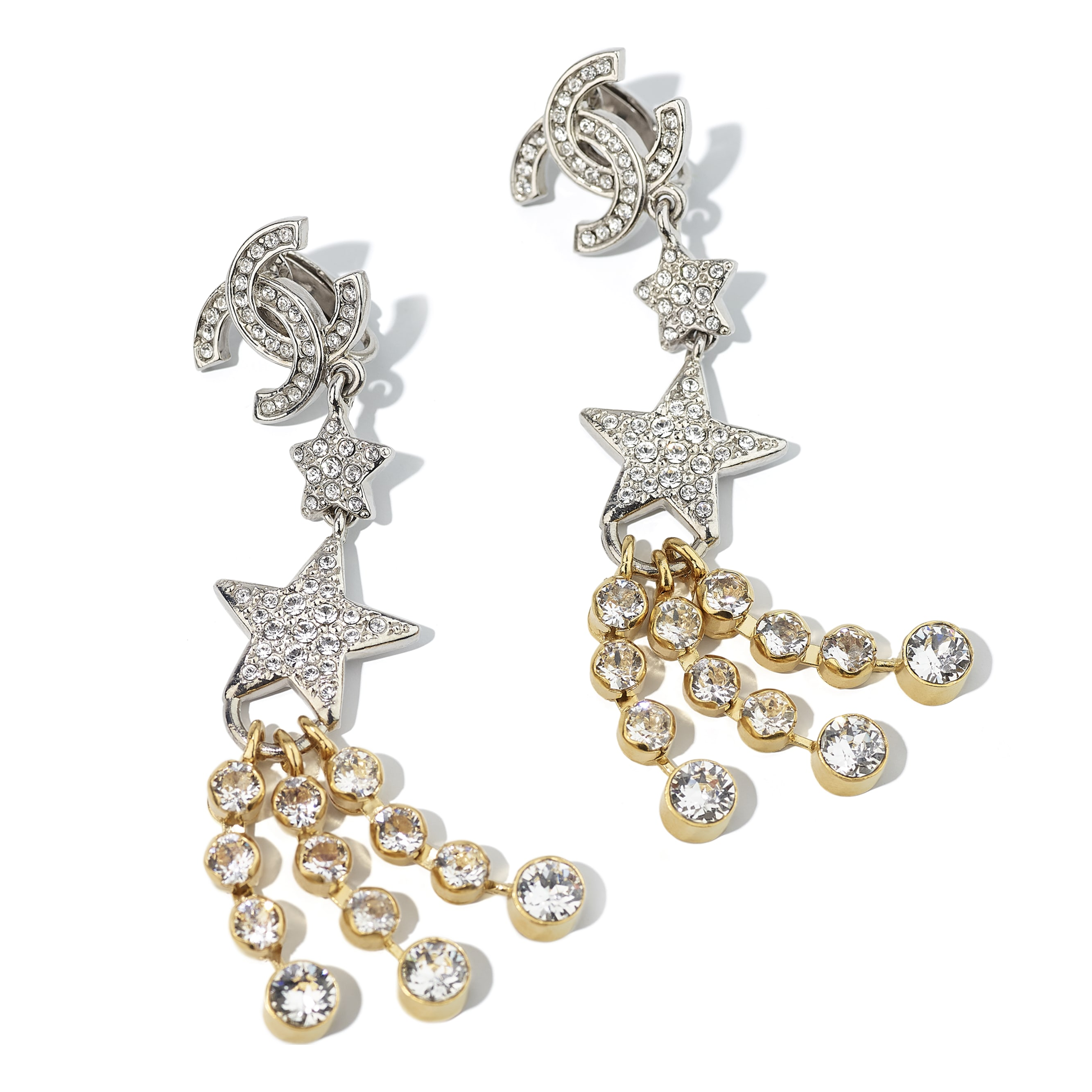 Clip-on Earrings - Gold, Silver & Crystal - Metal & Strass - CHANEL - Alternative view - see standard sized version