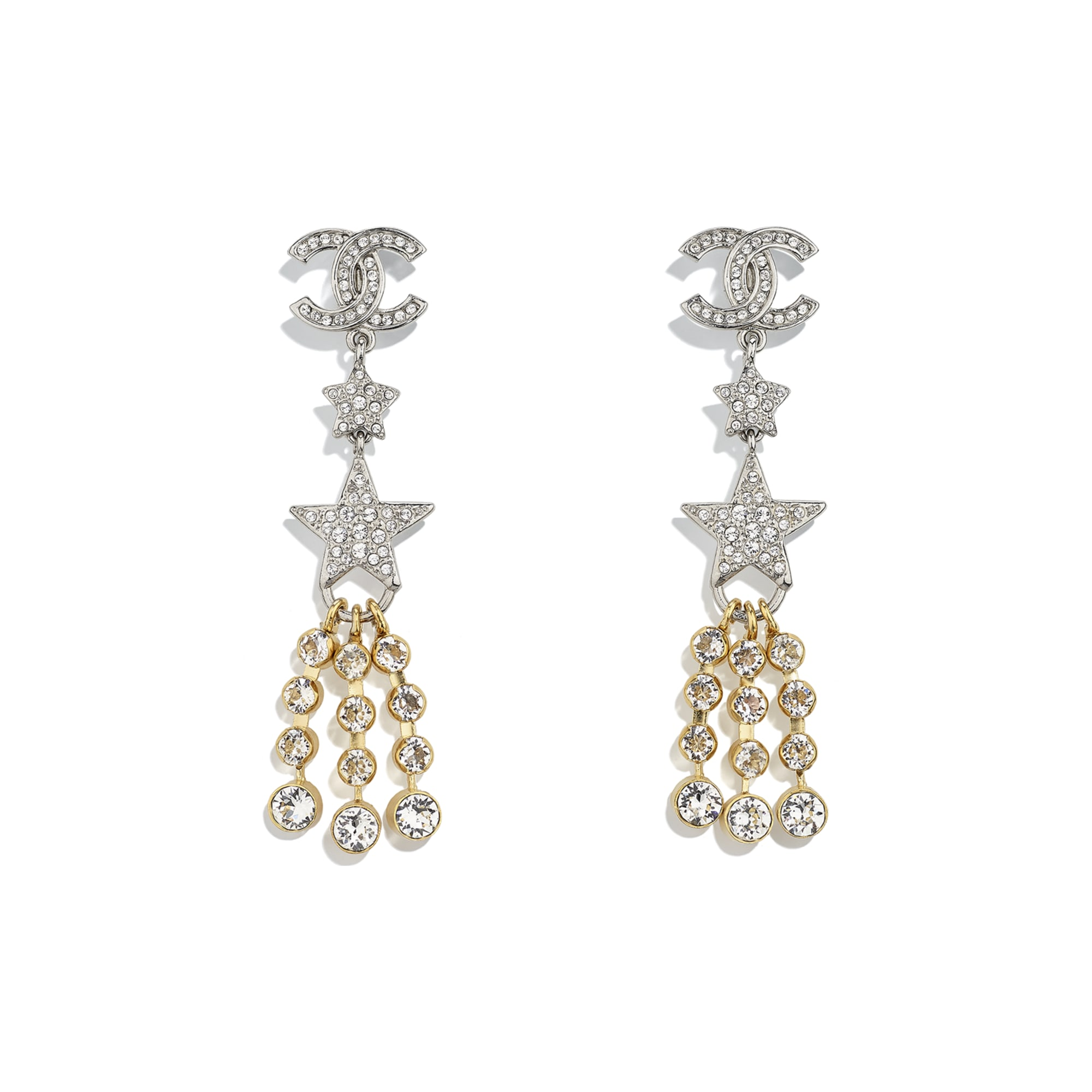 Clip-on Earrings - Gold, Silver & Crystal - Metal & Strass - CHANEL - Default view - see standard sized version