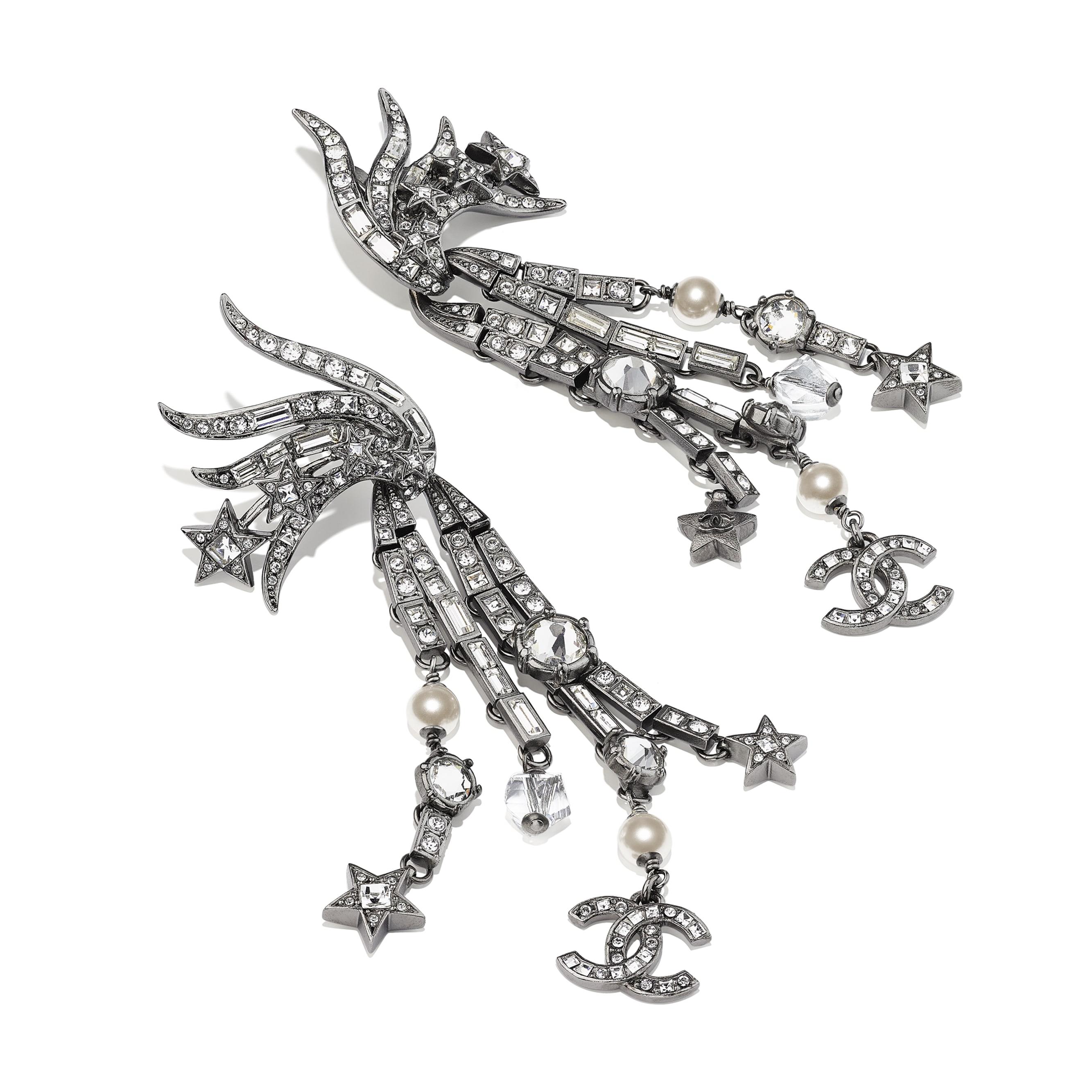夾式耳環 - 釕、珍珠白 & 水晶 - 金屬、琉璃珠、琉璃與水鑽 - CHANEL - 替代視圖 - 查看標準尺寸版本