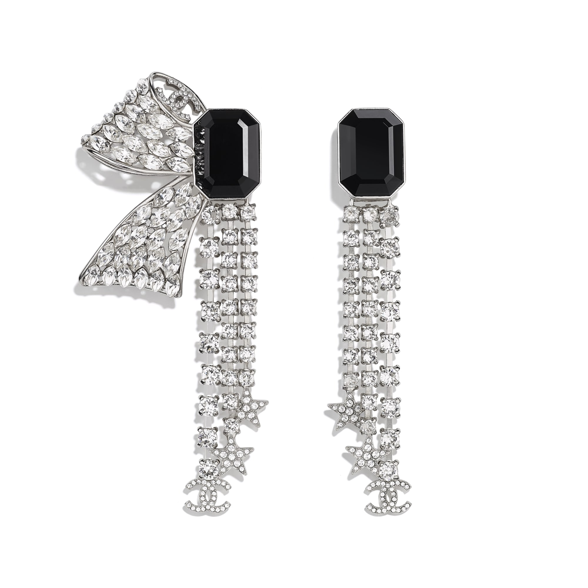Clip-On Earrings - Silver, Crystal & Black - Metal & Diamantés - Default view - see standard sized version