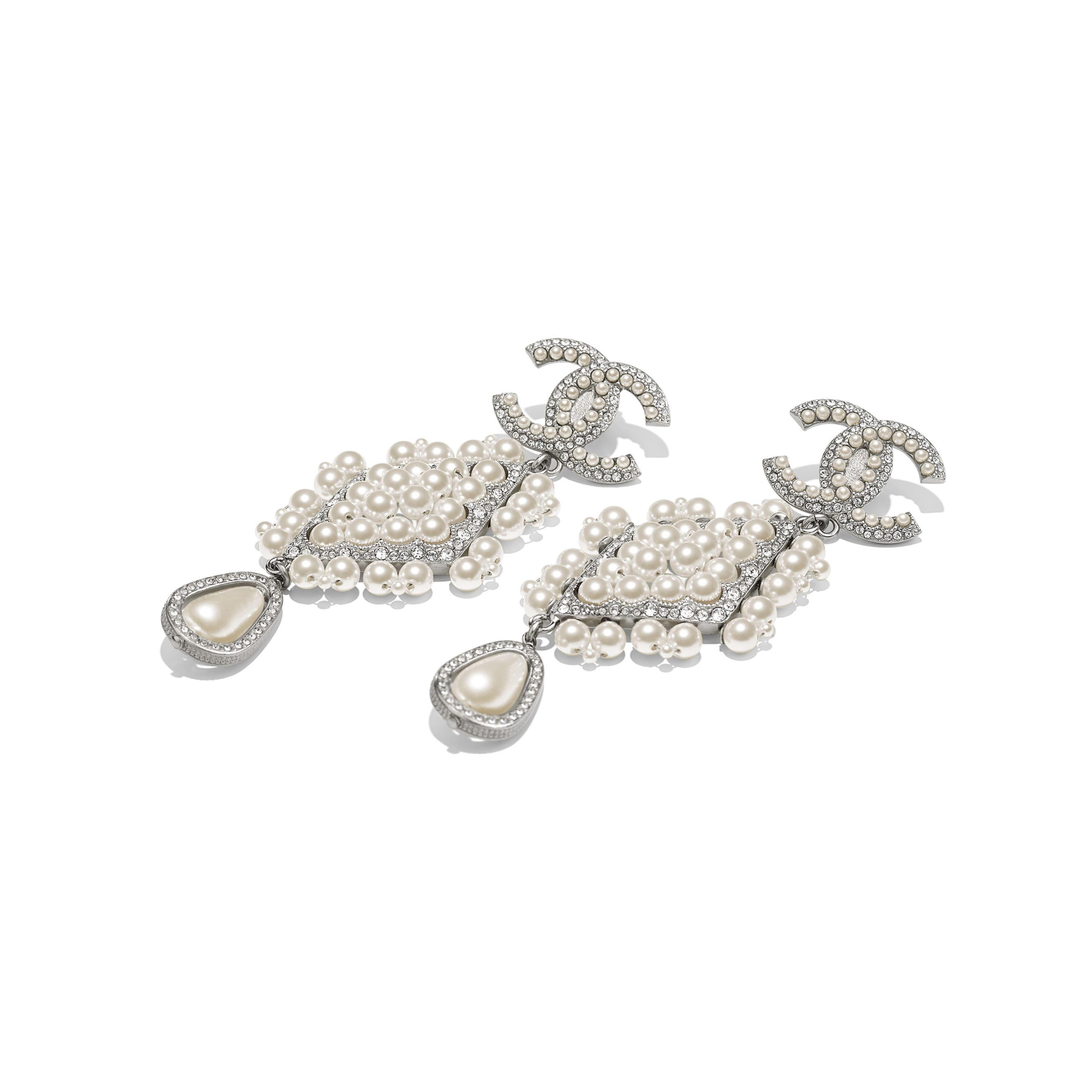 Clip-on Earrings - Silver, Pearly White & Crystal - Metal, Glass Pearls & Strass - Alternative view - see standard sized version