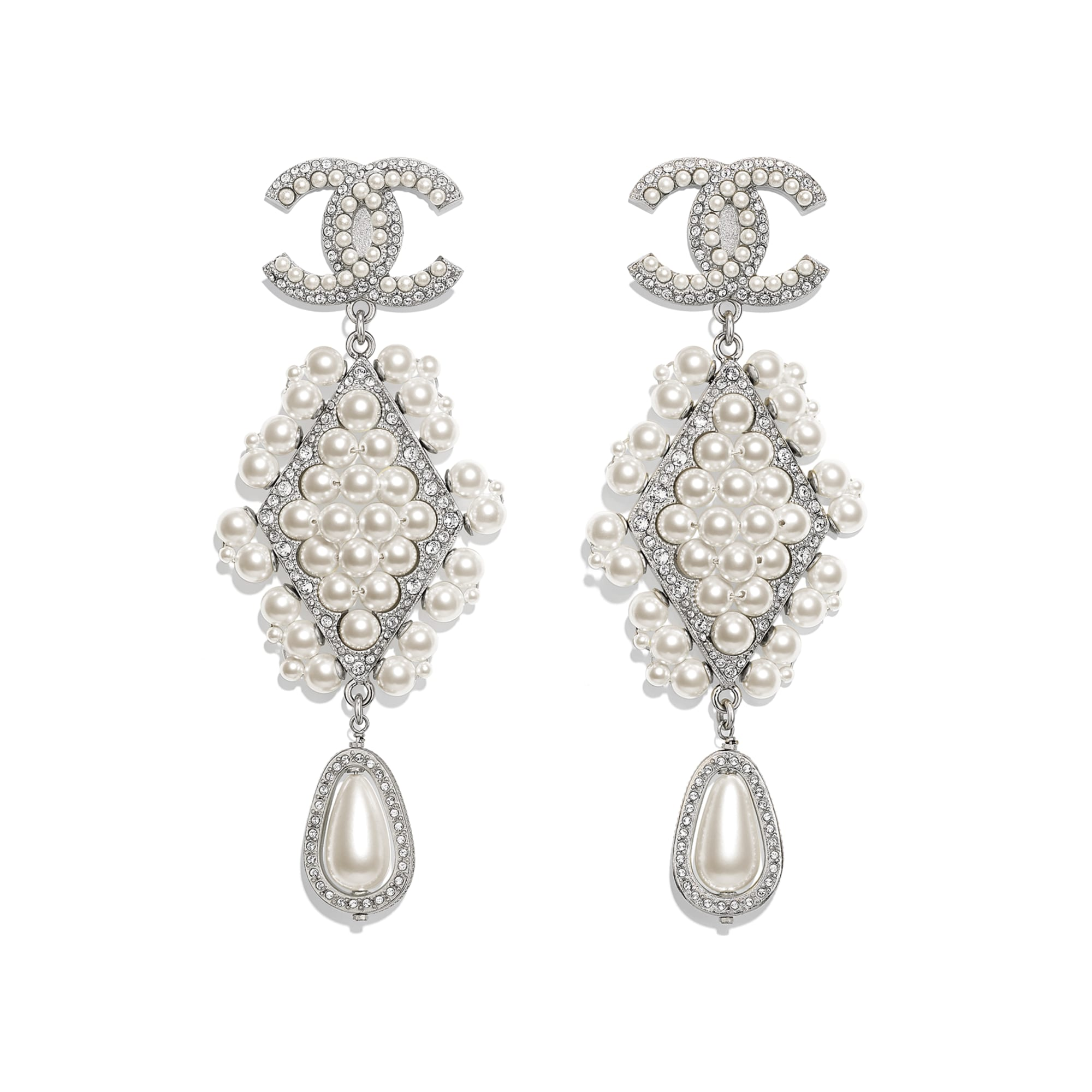 Clip-on Earrings - Silver, Pearly White & Crystal - Metal, Glass Pearls & Strass - Default view - see standard sized version