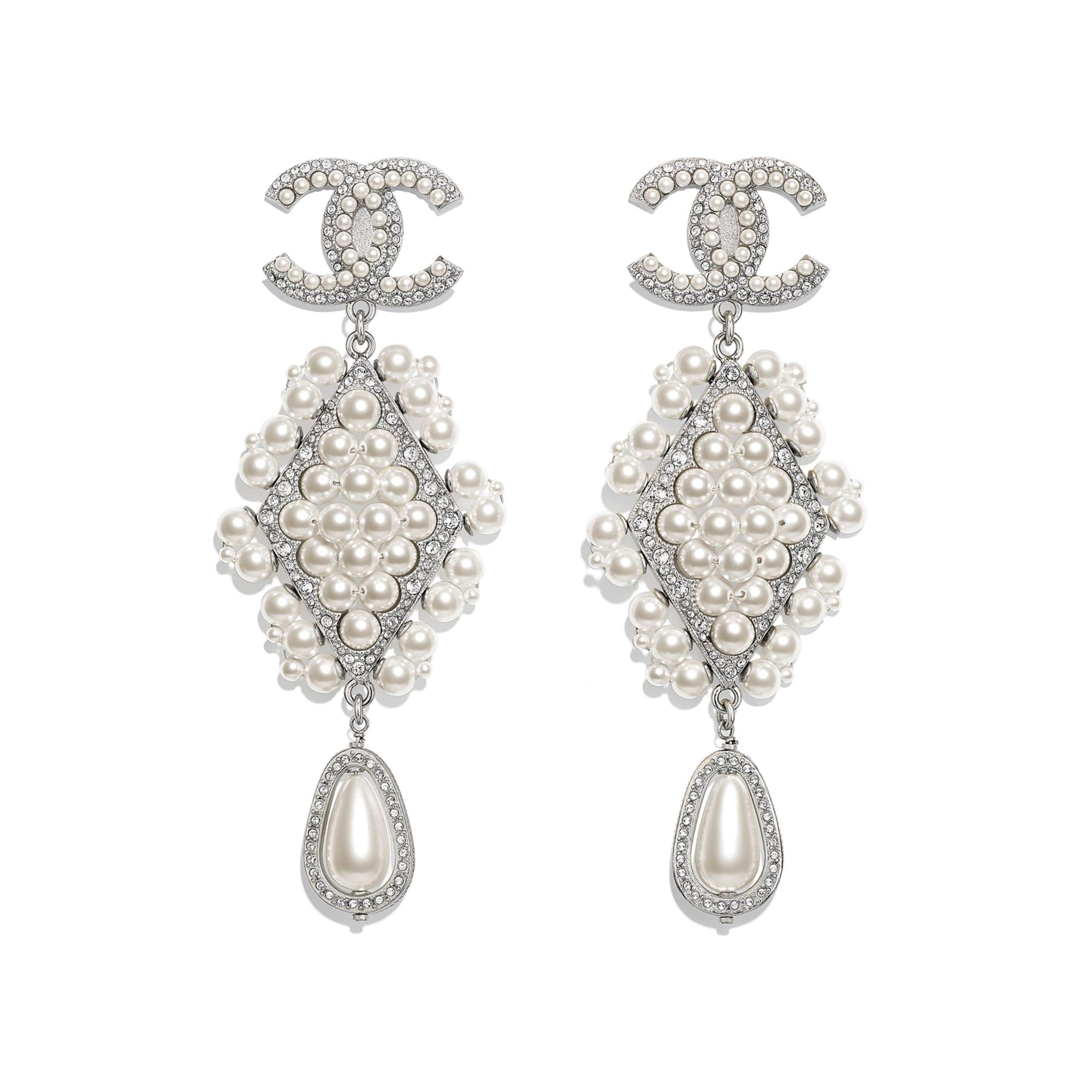Klipsy - Kolor srebrny, perłowobiały i krystaliczny - Metal, szklane perły i stras - Widok domyślny – zobacz w standardowym rozmiarze