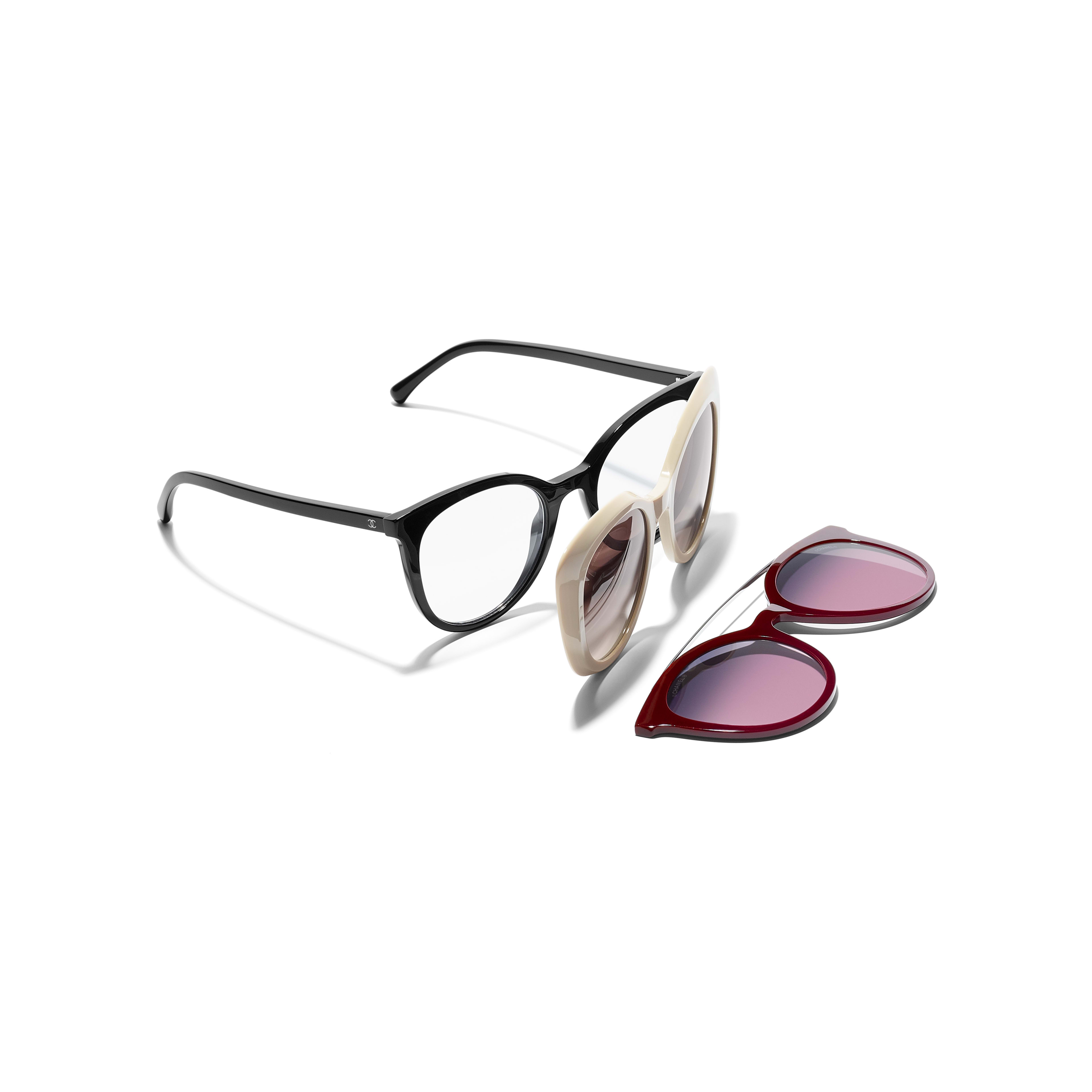 Clip on Sunglasses - Black - Acetate & Metal - Extra view - see standard sized version