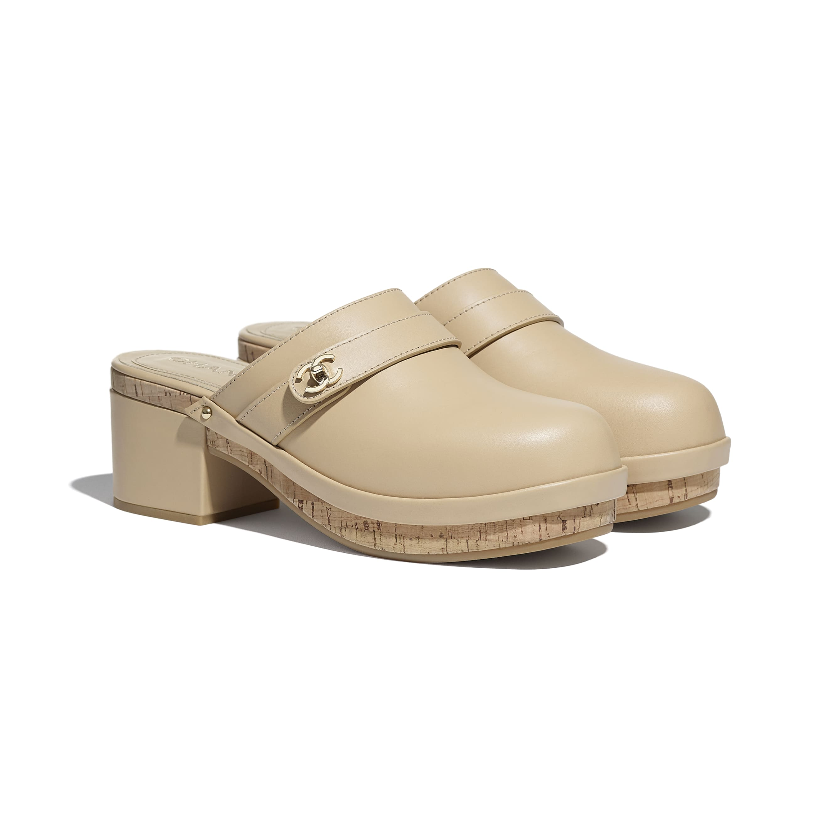 Clogs - Beige - Calfskin - CHANEL - Alternative view - see standard sized version