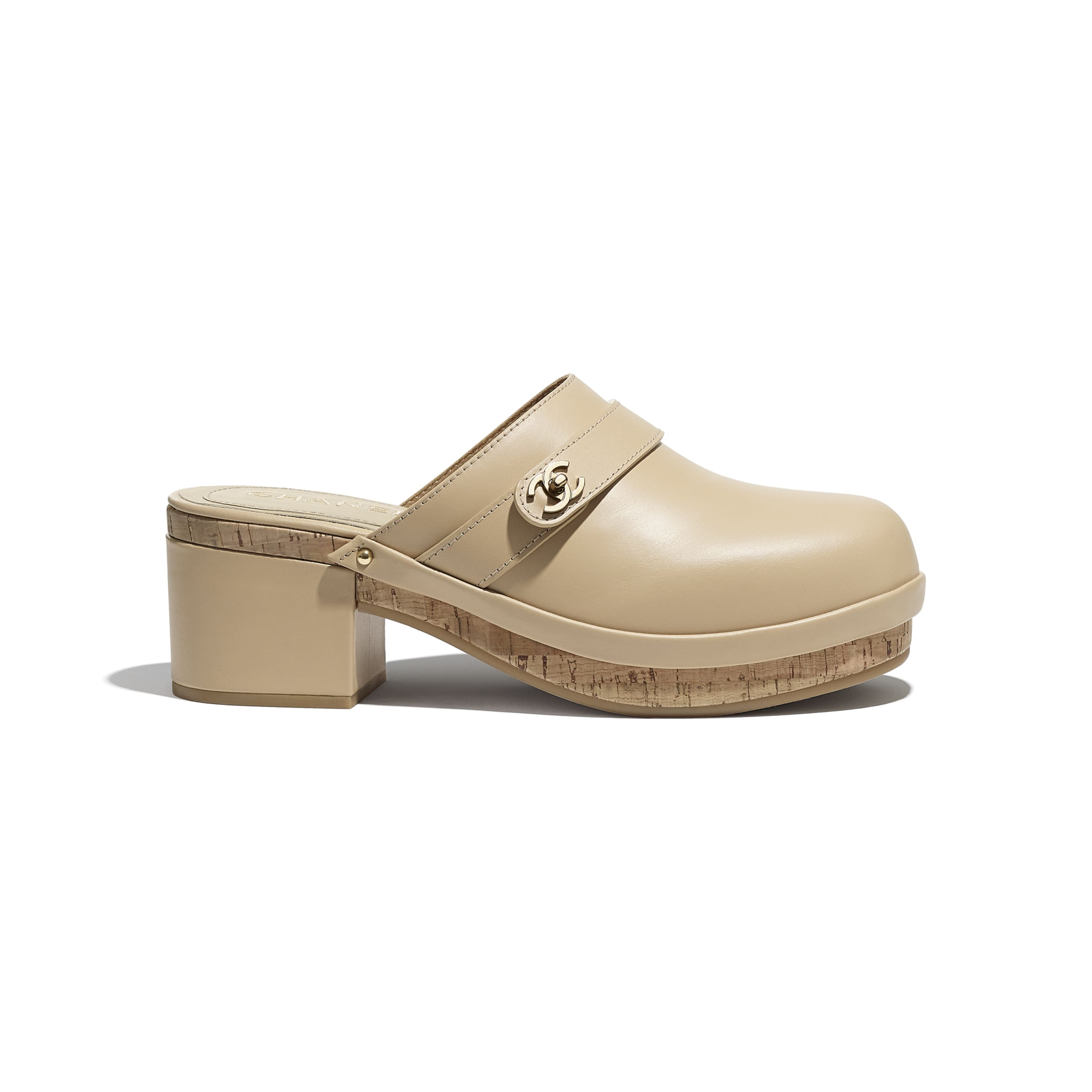 Clogs - Beige - Calfskin - CHANEL - Default view - see standard sized version