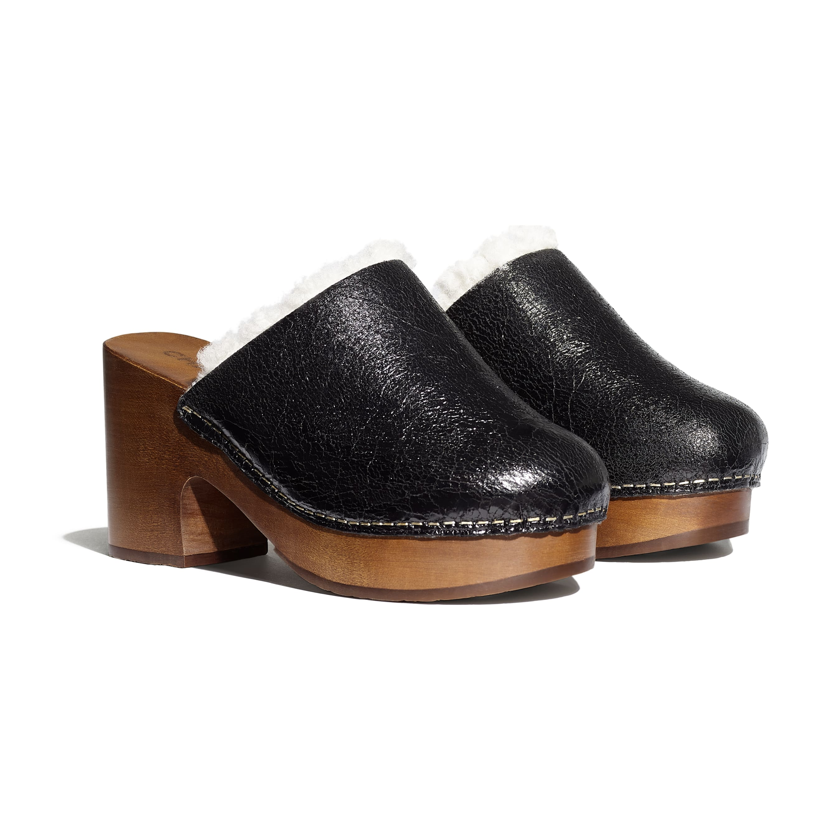 Clogs - Black - Crackled Sheepskin & Shearling - Alternative view - see standard sized version