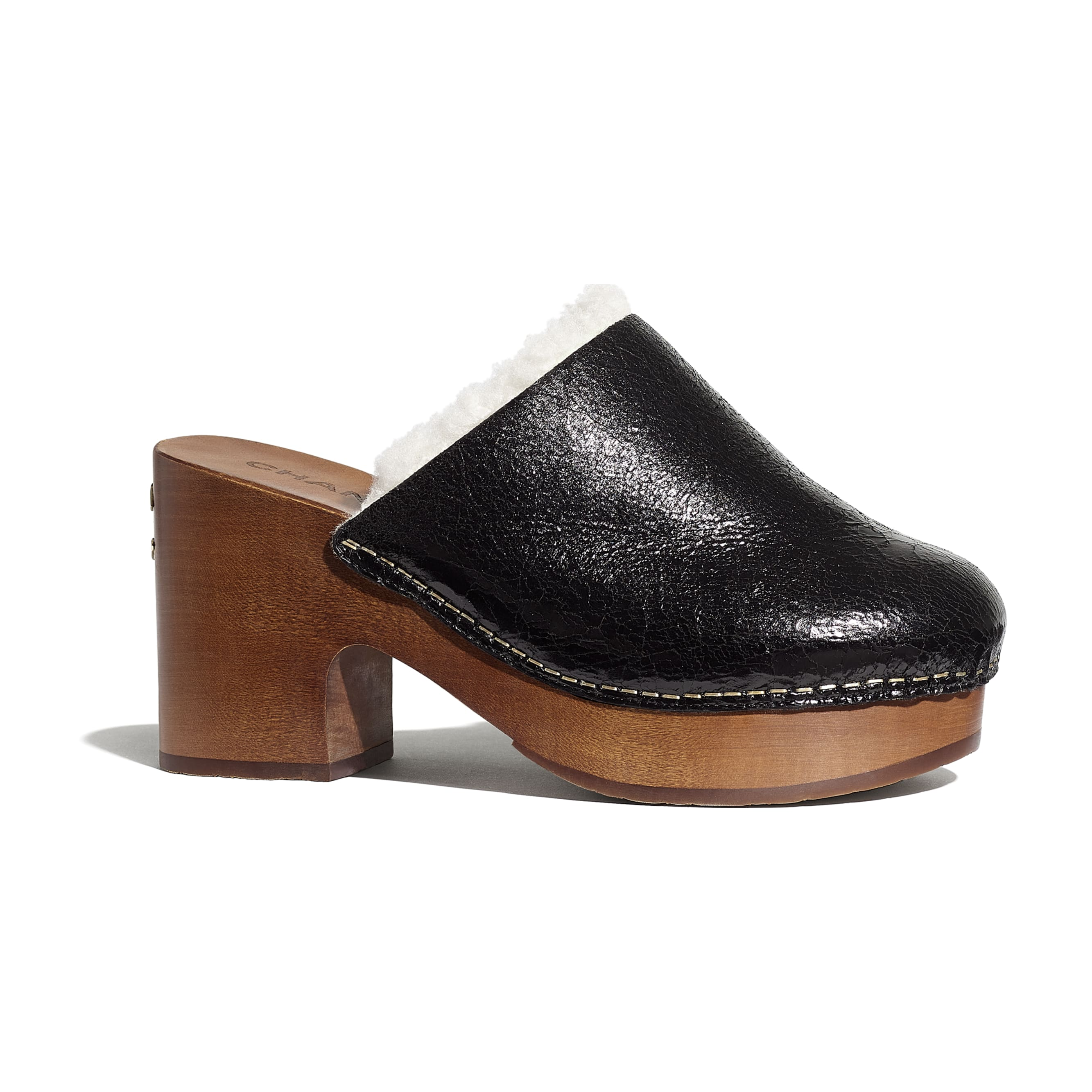 Clogs - Black - Crackled Sheepskin & Shearling - Default view - see standard sized version