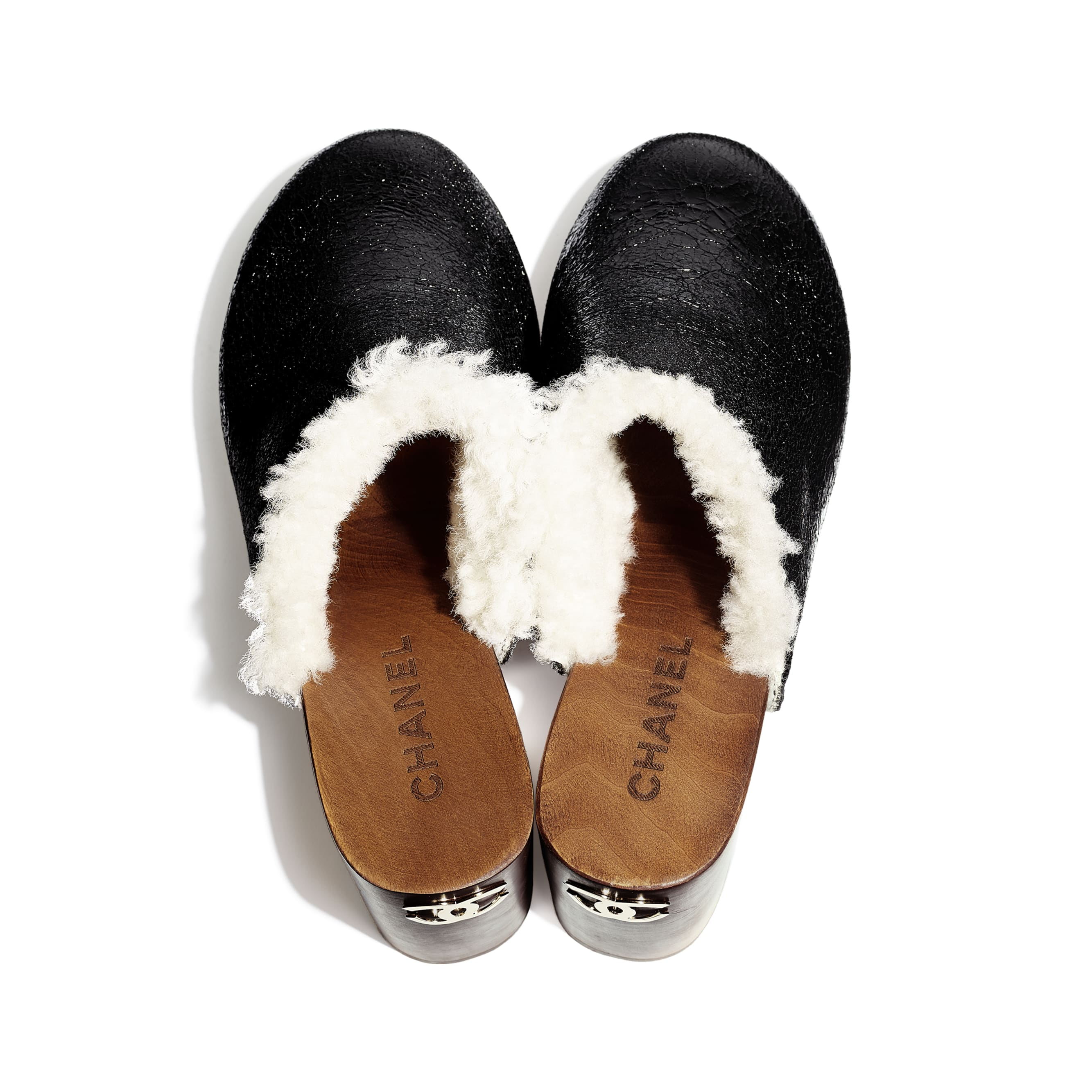 Clogs - Black - Crackled Sheepskin & Shearling - Extra view - see standard sized version