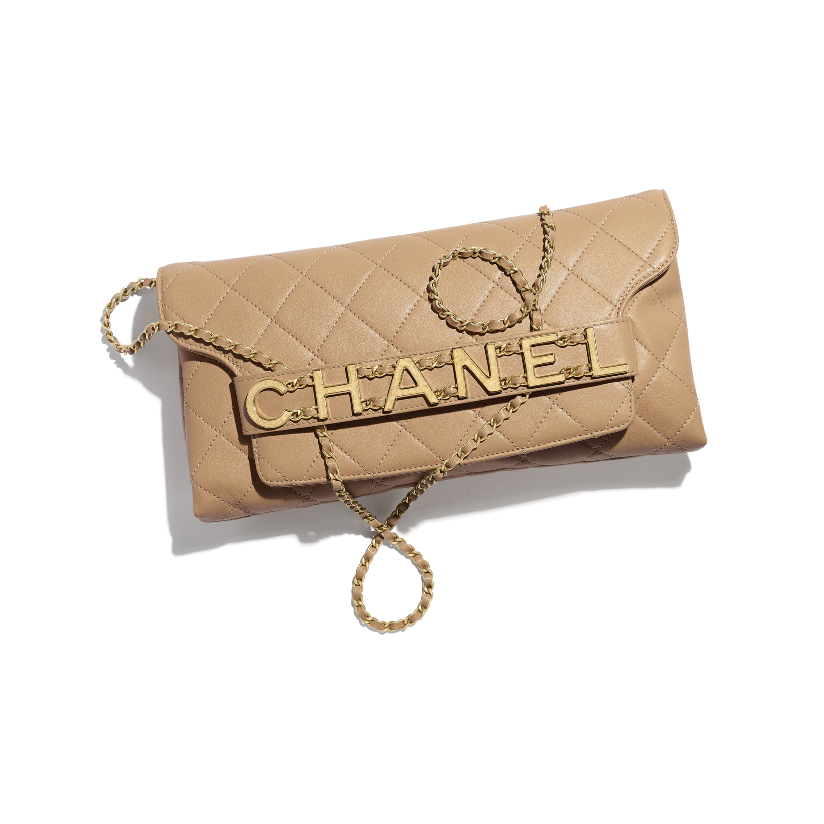 Clutch - Beige - Calfskin & Gold-Tone Metal - CHANEL - Extra view - see standard sized version