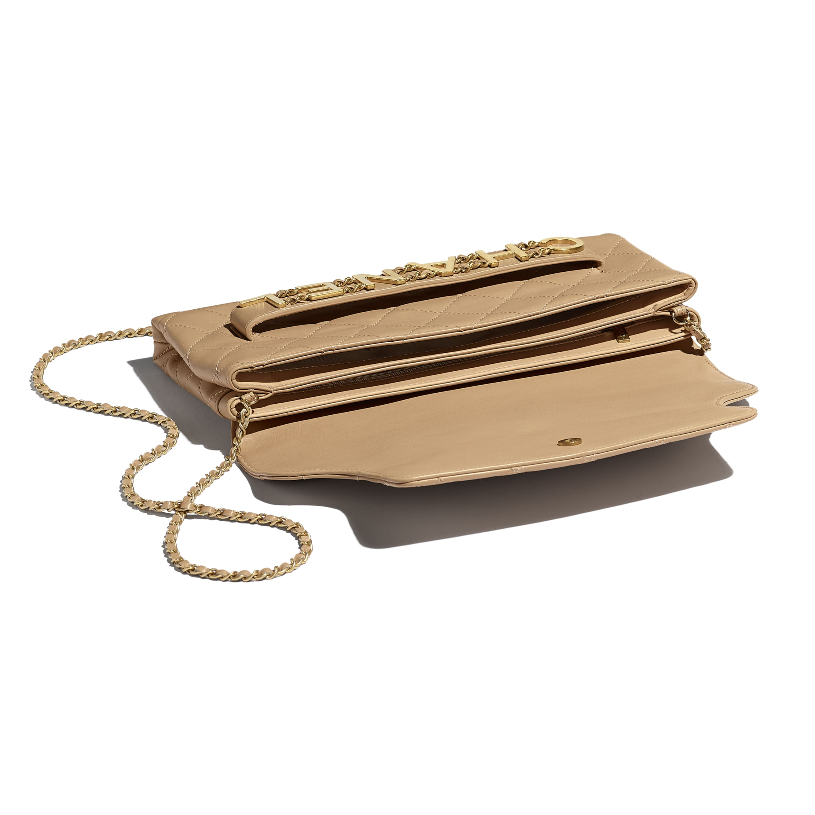 Clutch - Beige - Calfskin & Gold-Tone Metal - CHANEL - Other view - see standard sized version