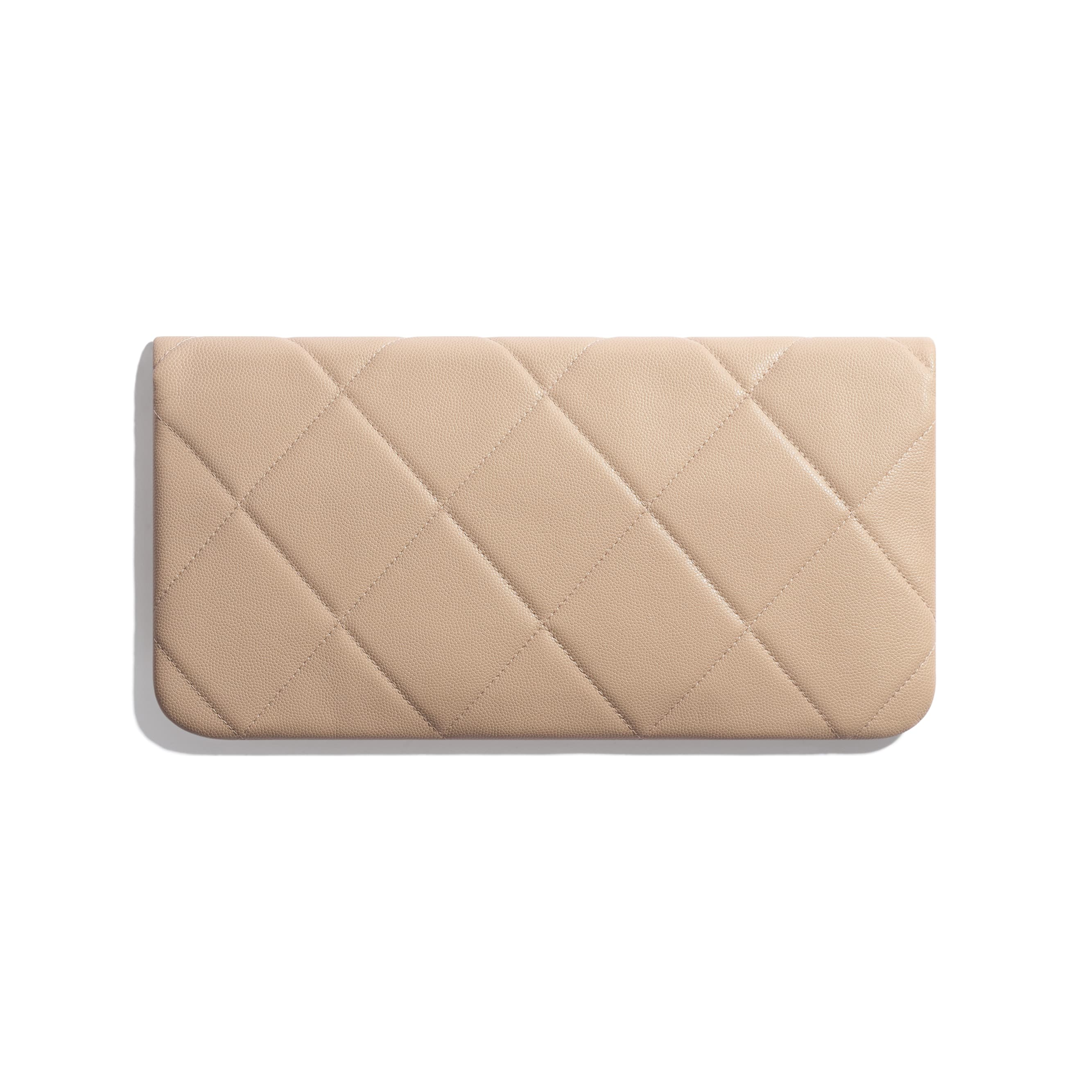 Clutch - Beige - Grained Calfskin & Gold-Tone Metal - Alternative view - see standard sized version