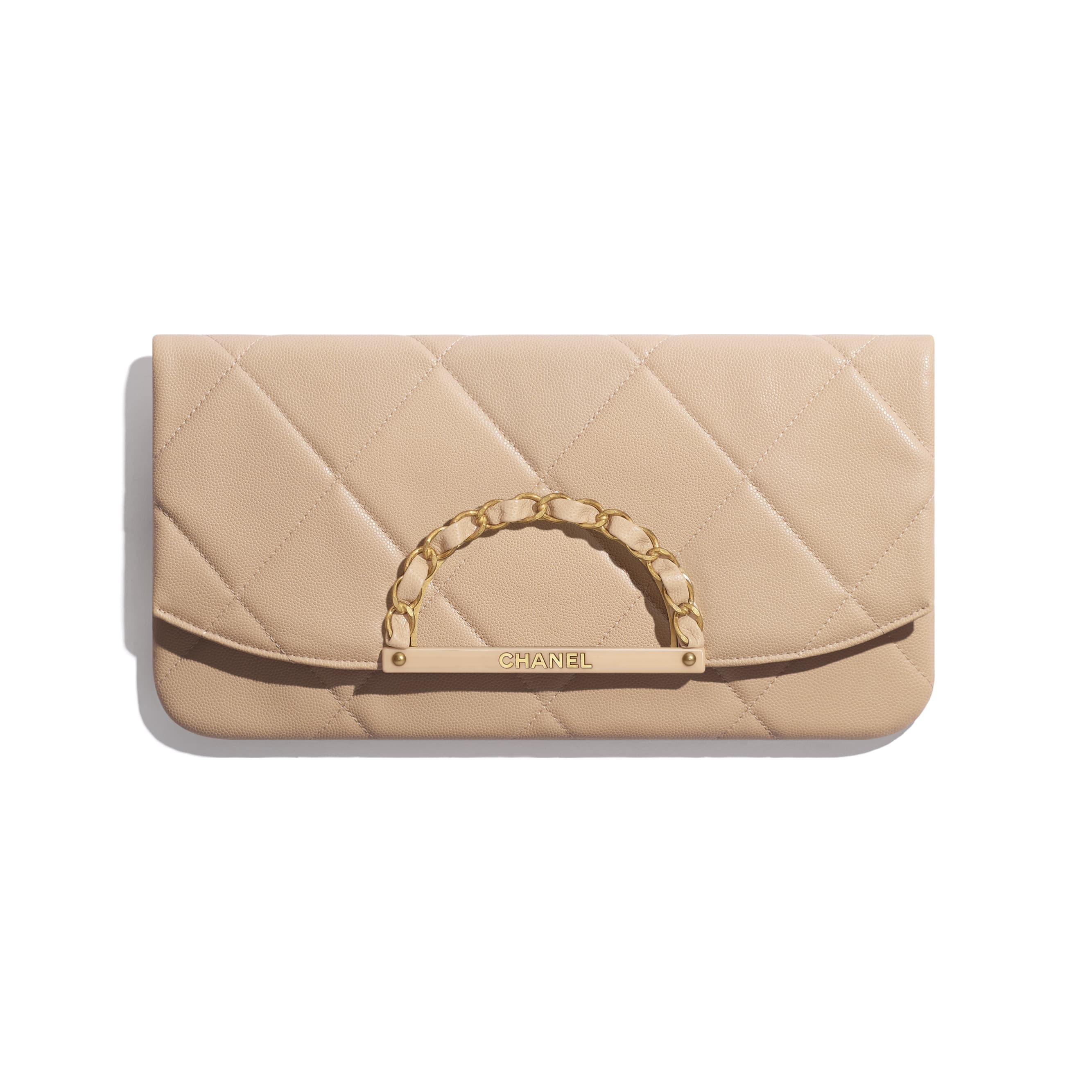 Clutch - Beige - Grained Calfskin & Gold-Tone Metal - Default view - see standard sized version