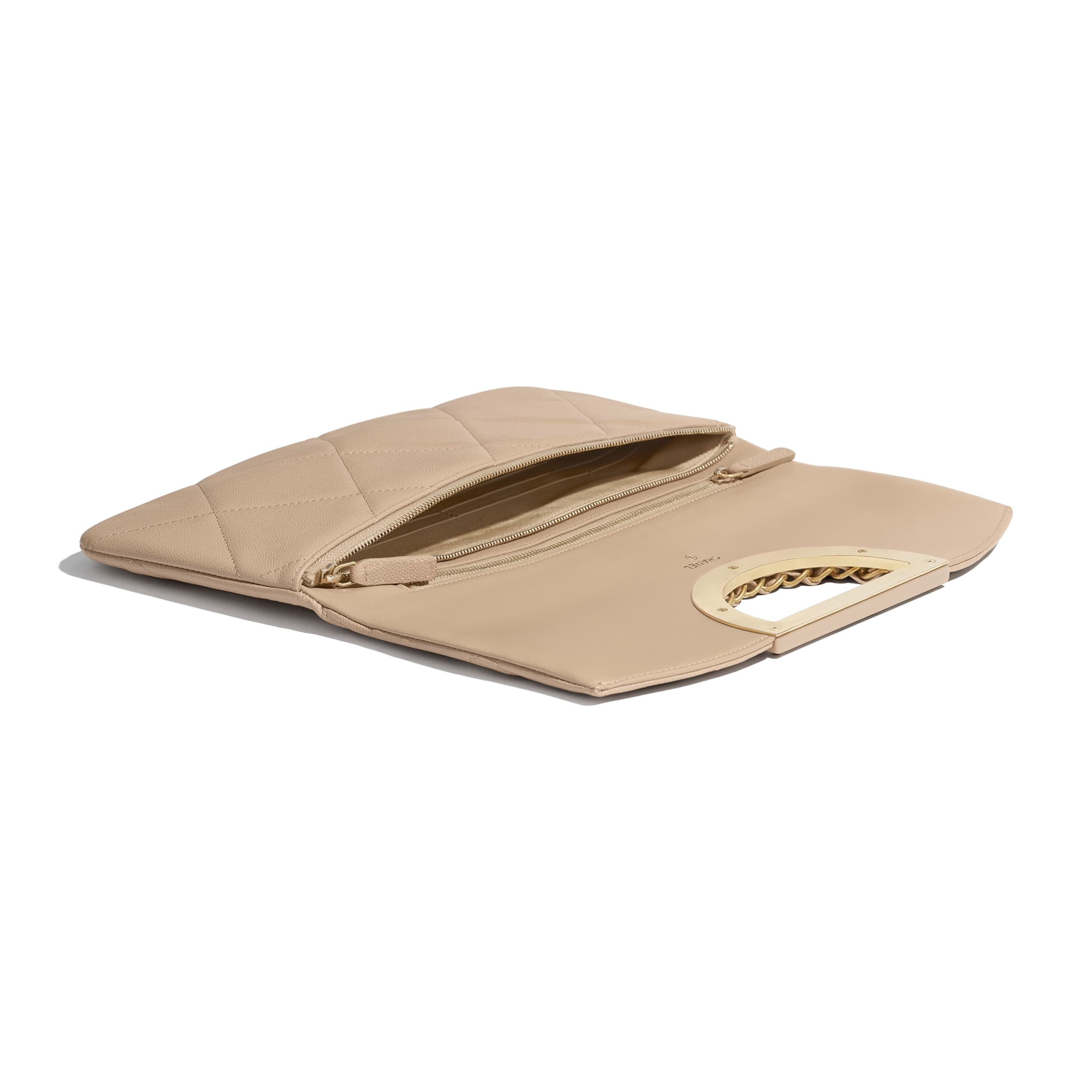 Clutch - Beige - Grained Calfskin & Gold-Tone Metal - Extra view - see standard sized version