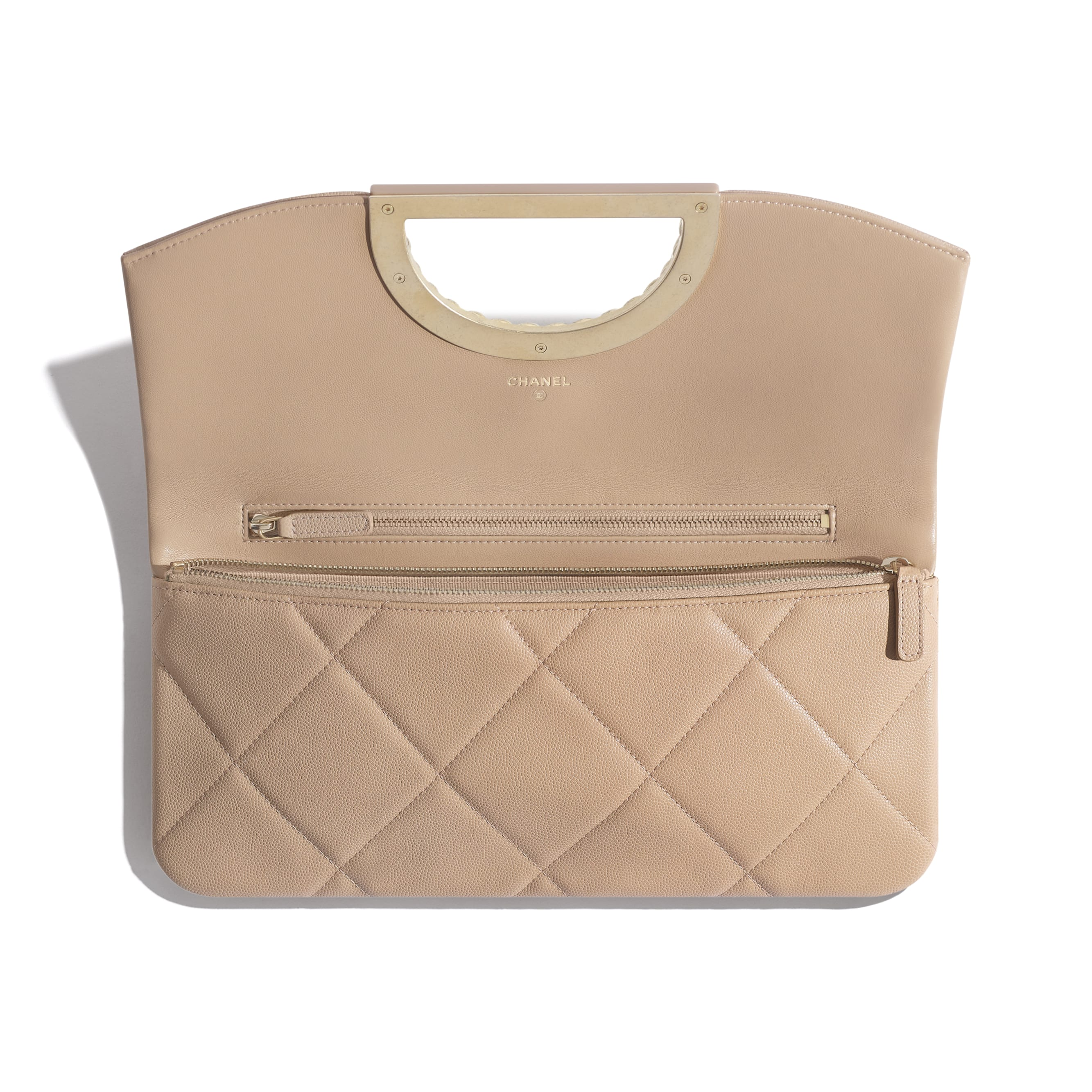 Clutch - Beige - Grained Calfskin & Gold-Tone Metal - Other view - see standard sized version