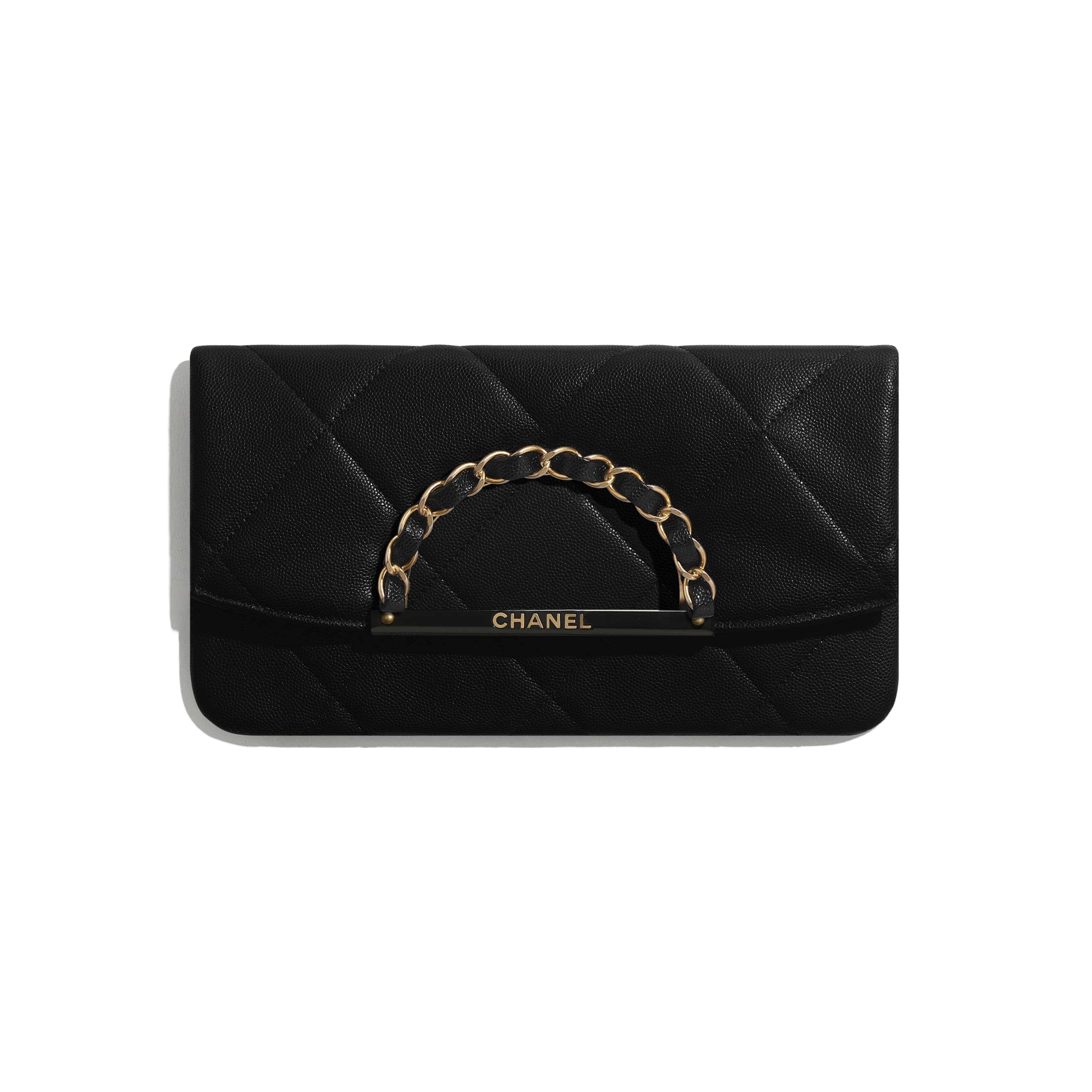 Clutch - Black - Grained Calfskin & Gold-Tone Metal - CHANEL - Default view - see standard sized version