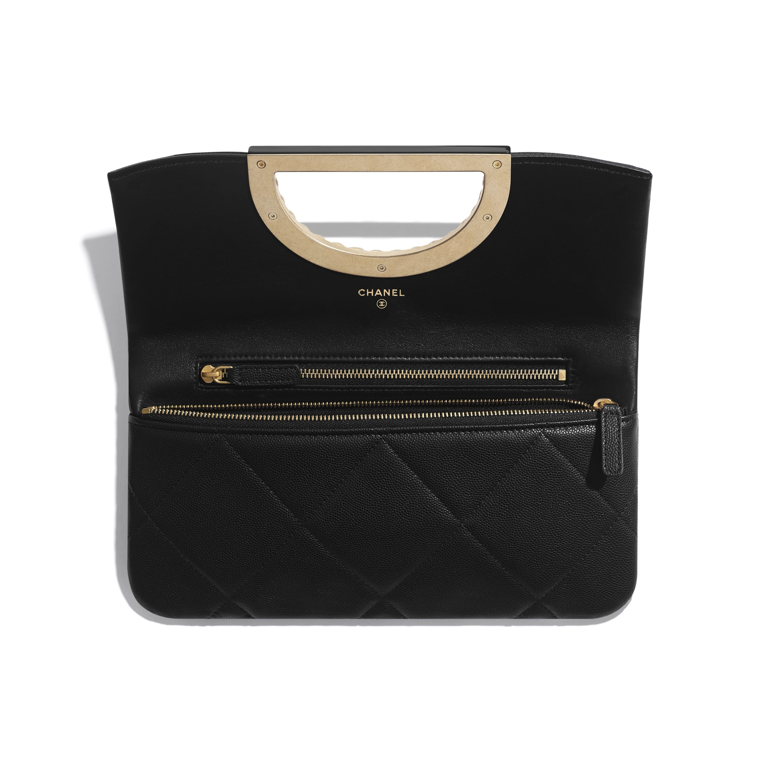 Clutch - Black - Grained Calfskin & Gold-Tone Metal - CHANEL - Other view - see standard sized version