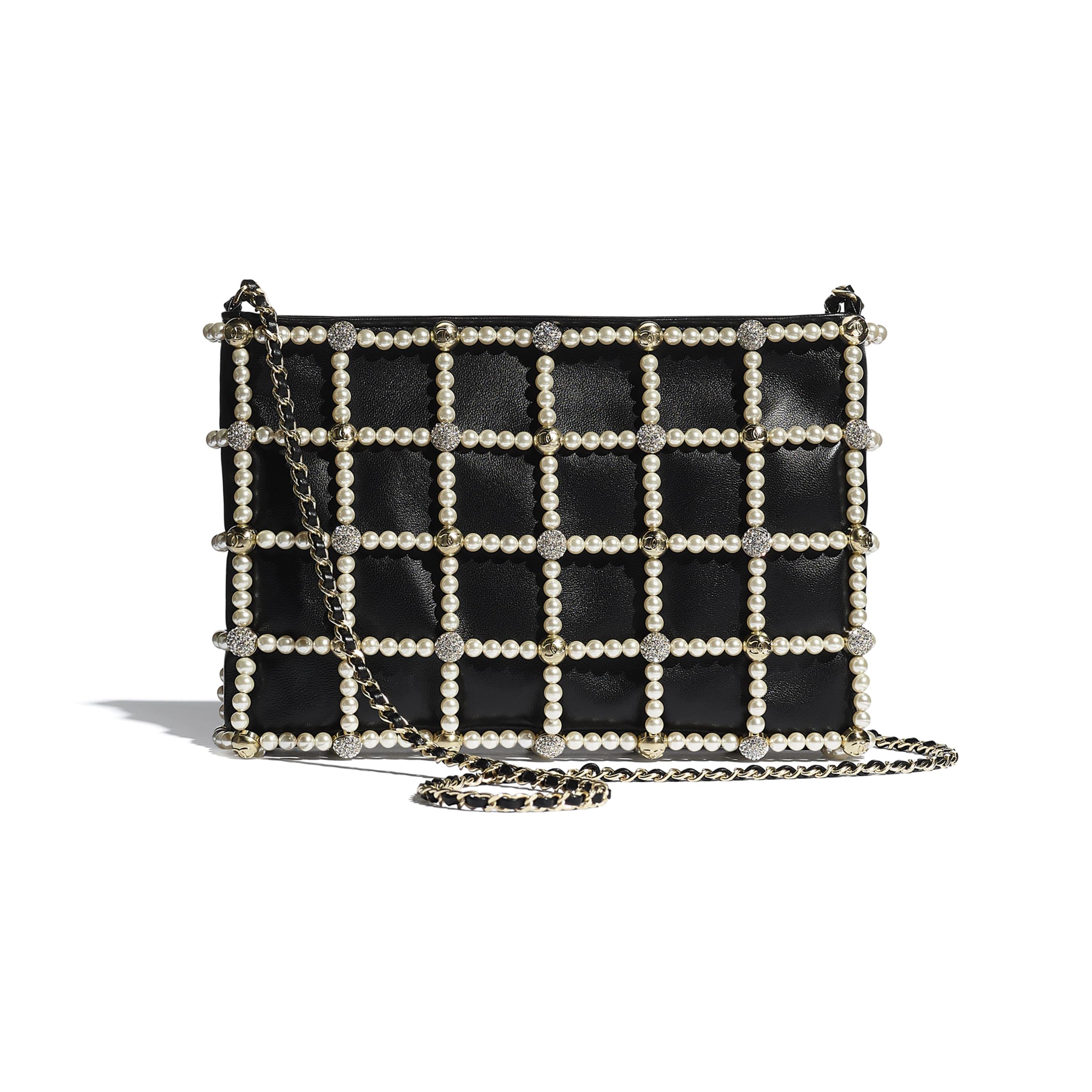 Pochette - Nero - Pelle di agnello, pelle, perle in pasta di vetro, strass & metallo effetto dorato - CHANEL - Immagine predefinita - vedere versione standard