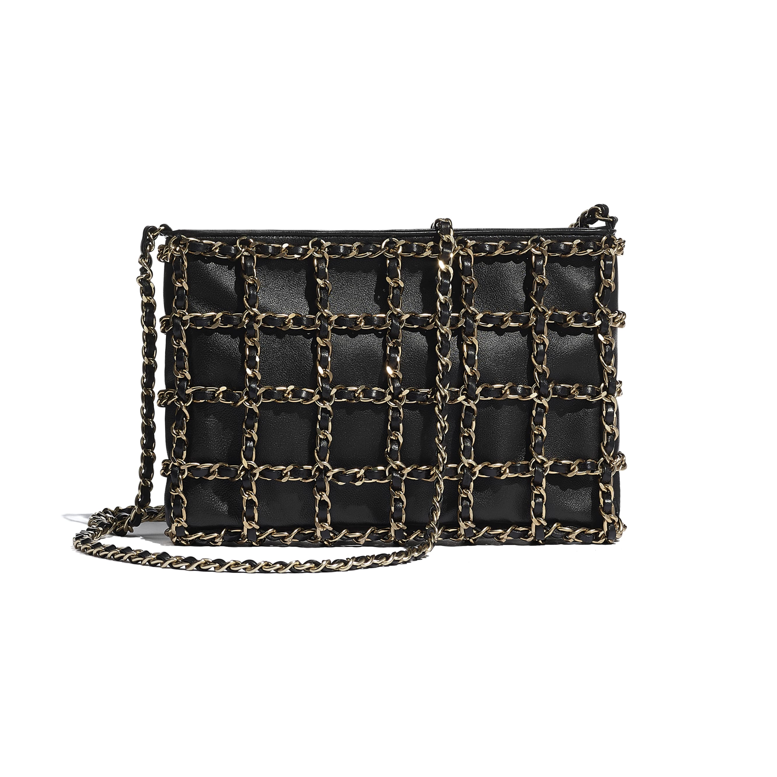 Clutch - Black - Lambskin & Gold Metal  - CHANEL - Alternative view - see standard sized version