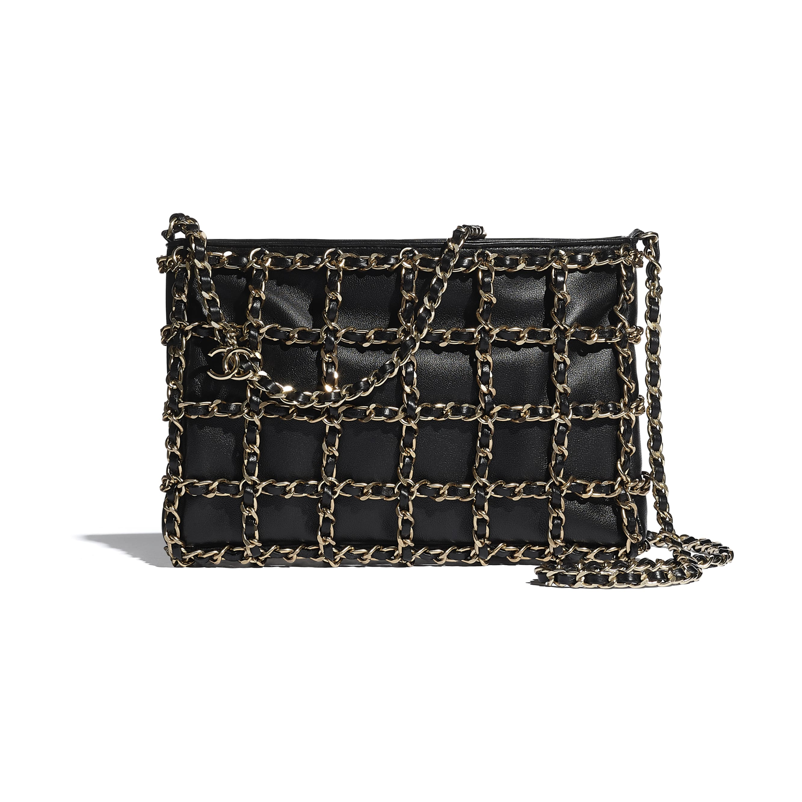 Clutch - Black - Lambskin & Gold Metal  - CHANEL - Default view - see standard sized version