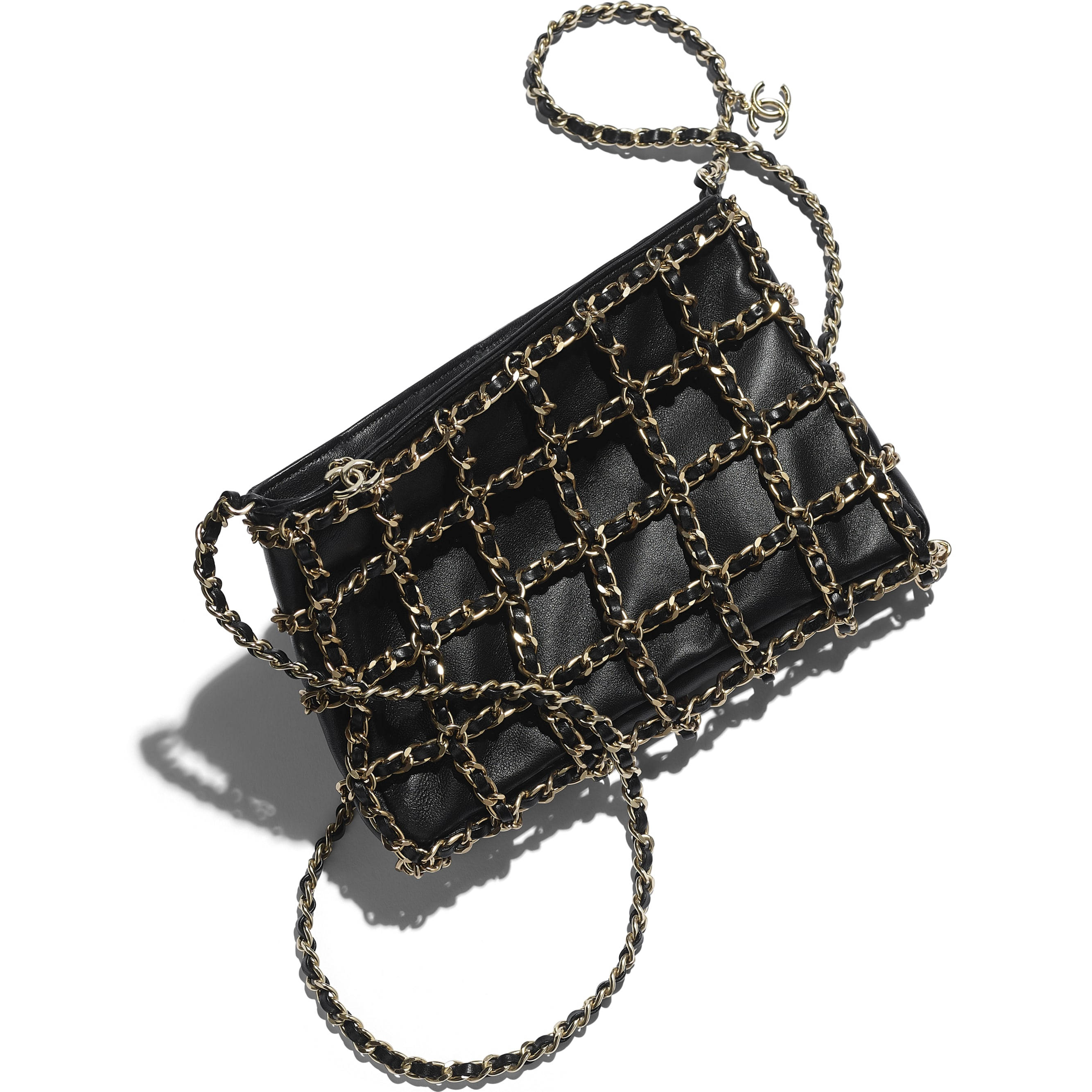 Clutch - Black - Lambskin & Gold Metal  - CHANEL - Extra view - see standard sized version